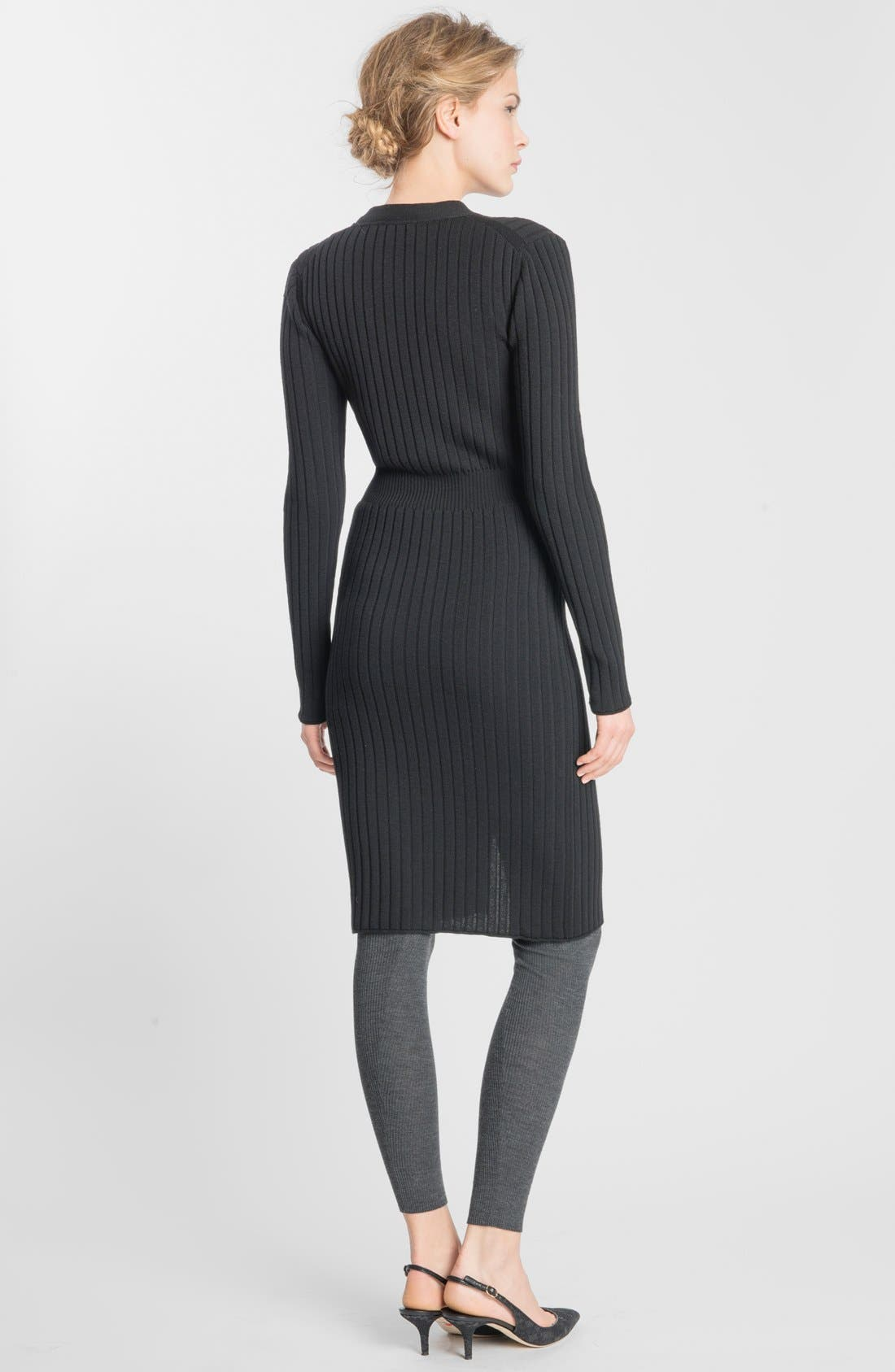 Alternate Image 2  - Dolce&Gabbana Crystal Button Ribbed Wool Sweater Dress