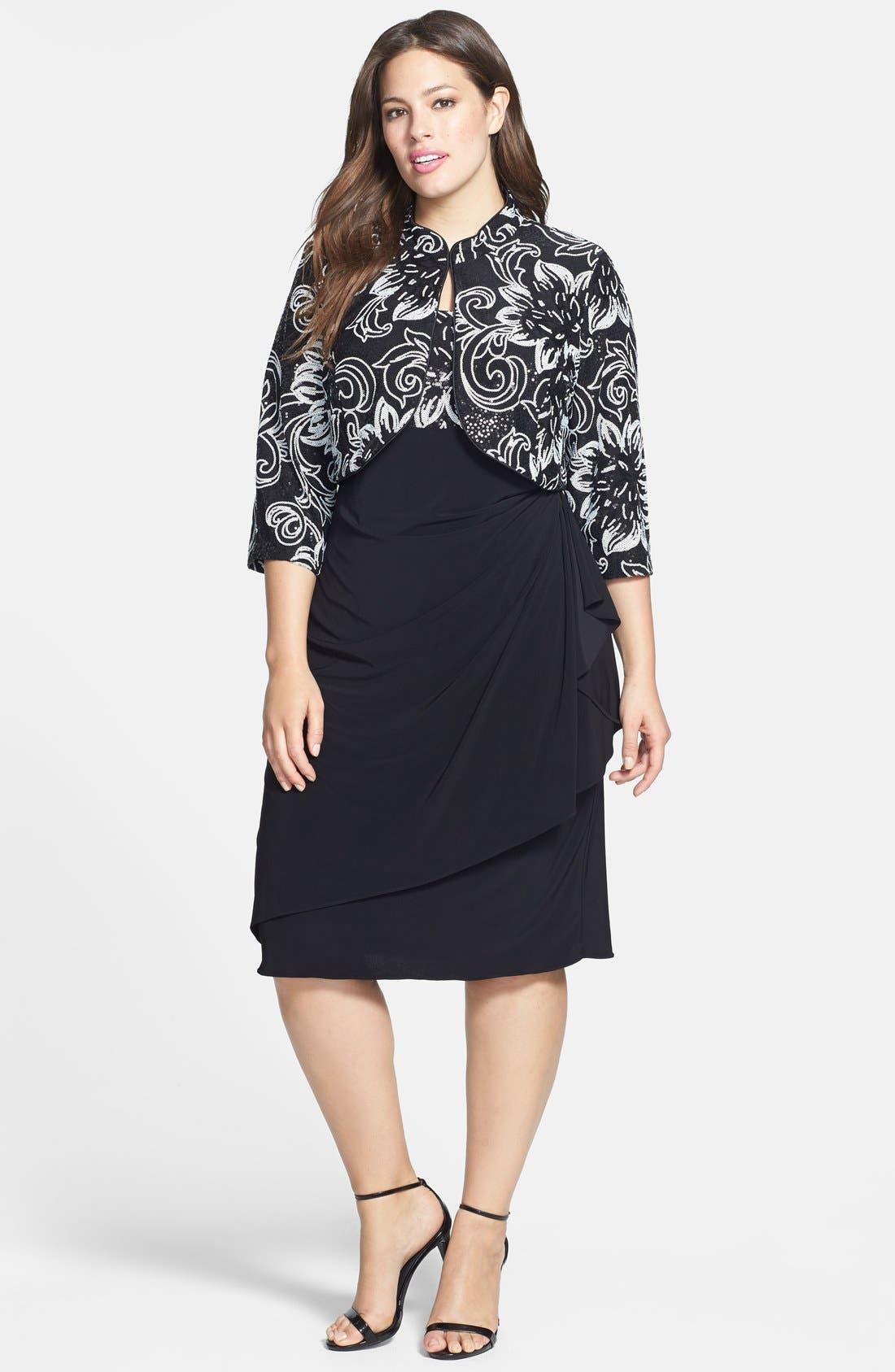 Alternate Image 1 Selected - Alex Evenings Sequin Patterned Dress & Jacket (Plus Size)