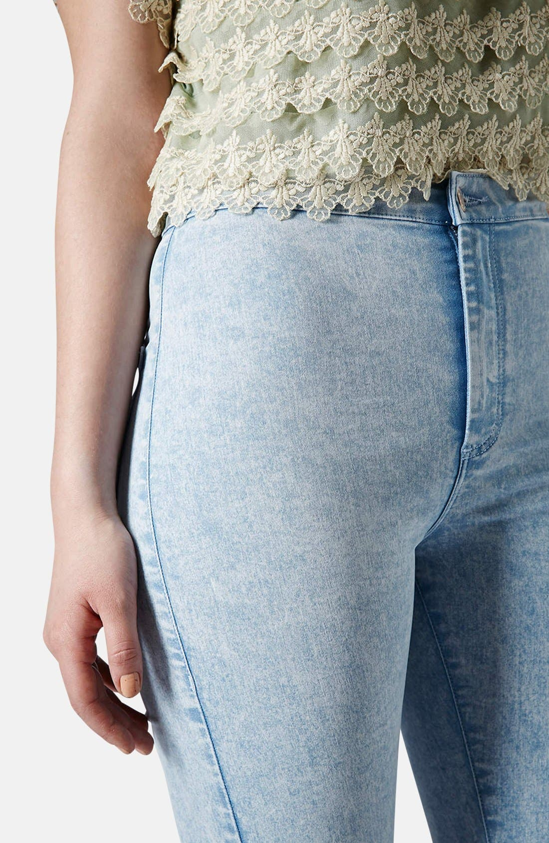 Alternate Image 4  - Topshop Moto 'Joni' Acid Wash High Rise Skinny Jeans (Light) (Regular & Short)