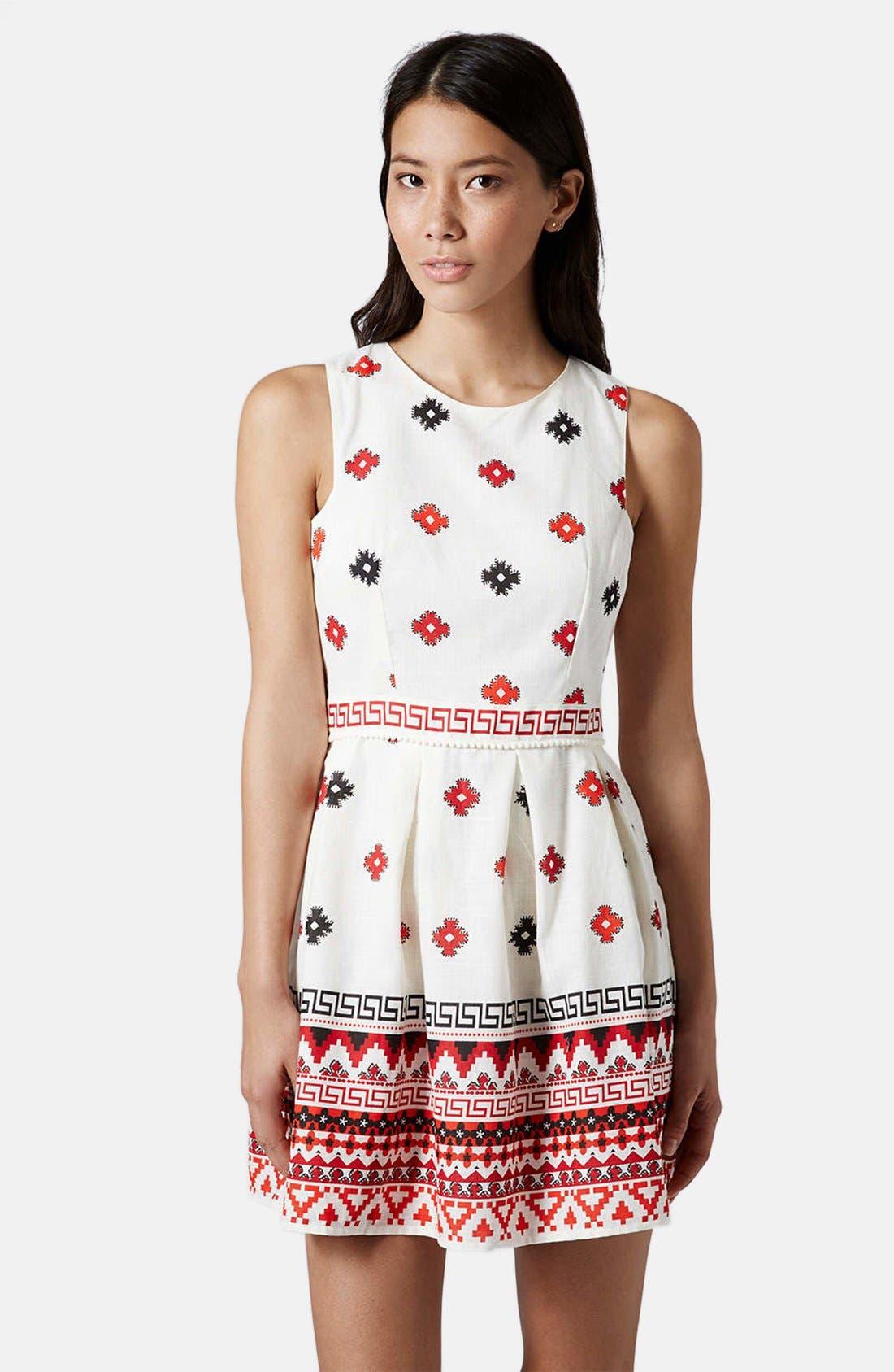 Print Pompom Trim Fit & Flare Dress,                         Main,                         color, White