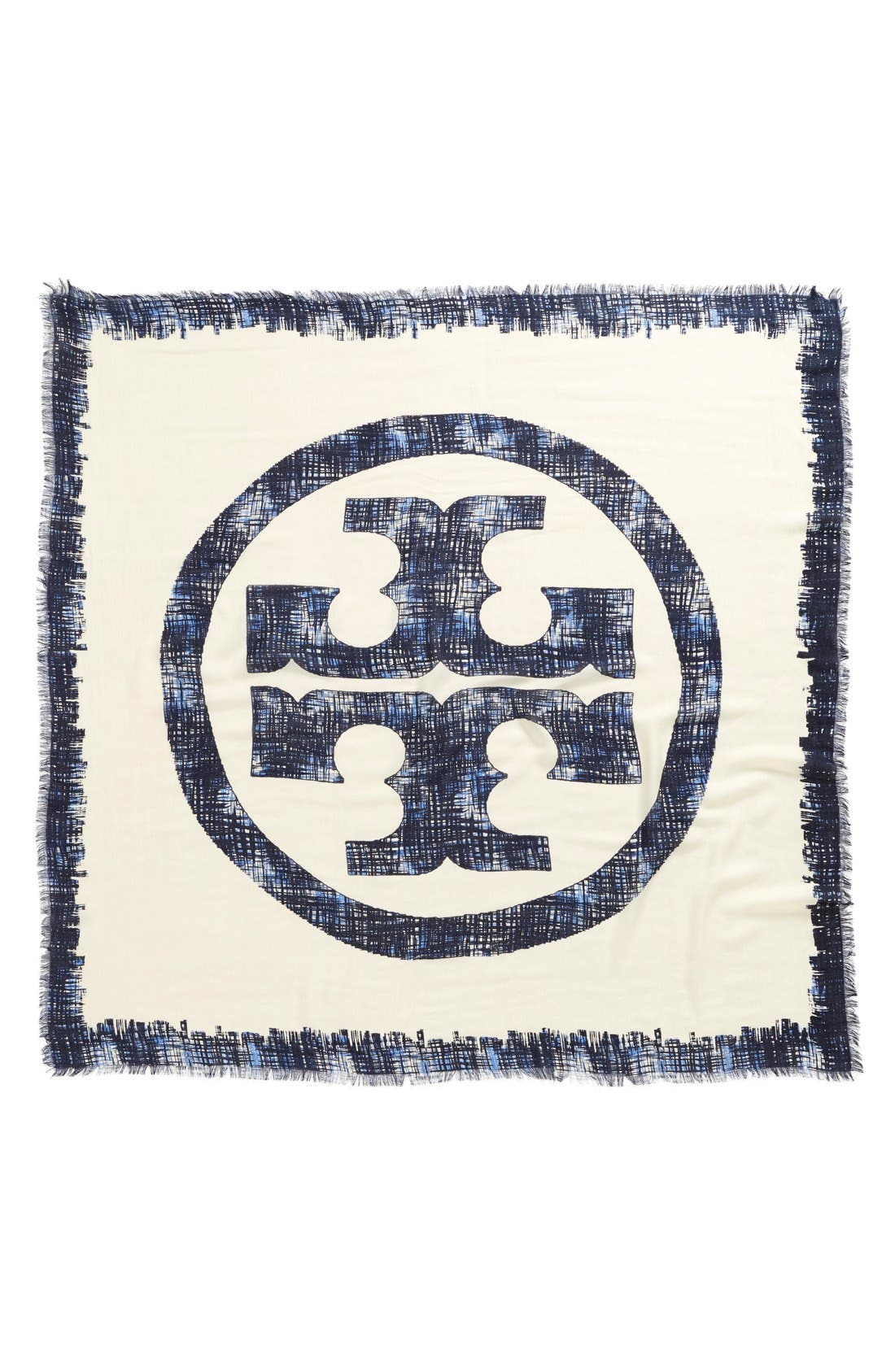 Alternate Image 2  - Tory Burch 'Painted Hash Print' Square Silk & Wool Scarf