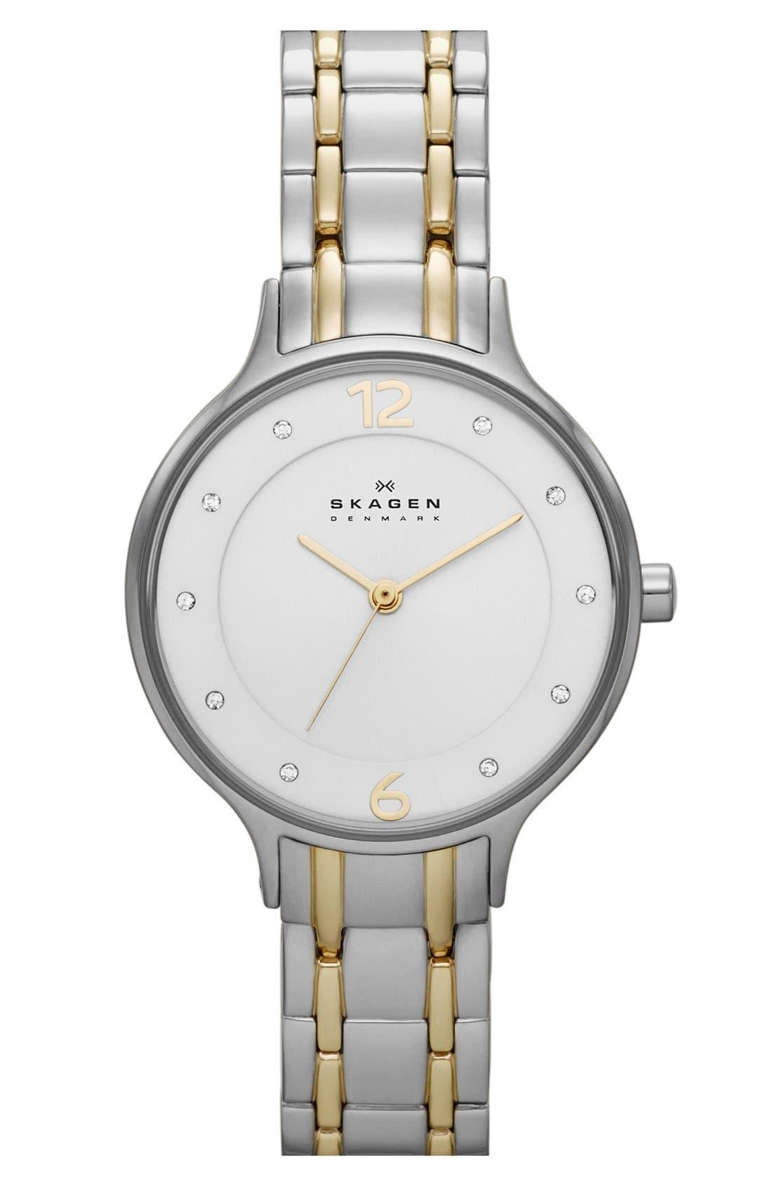 Main Image - Skagen 'Anita' Crystal Index Bracelet Watch, 30mm (Nordstrom Exclusive)