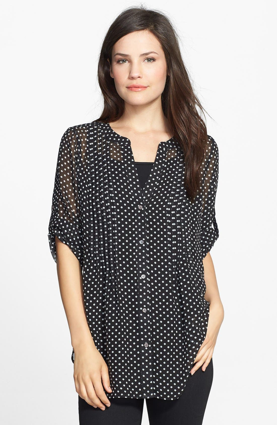 Alternate Image 1 Selected - Chaus 'Sweet Dot' Pintuck Blouse