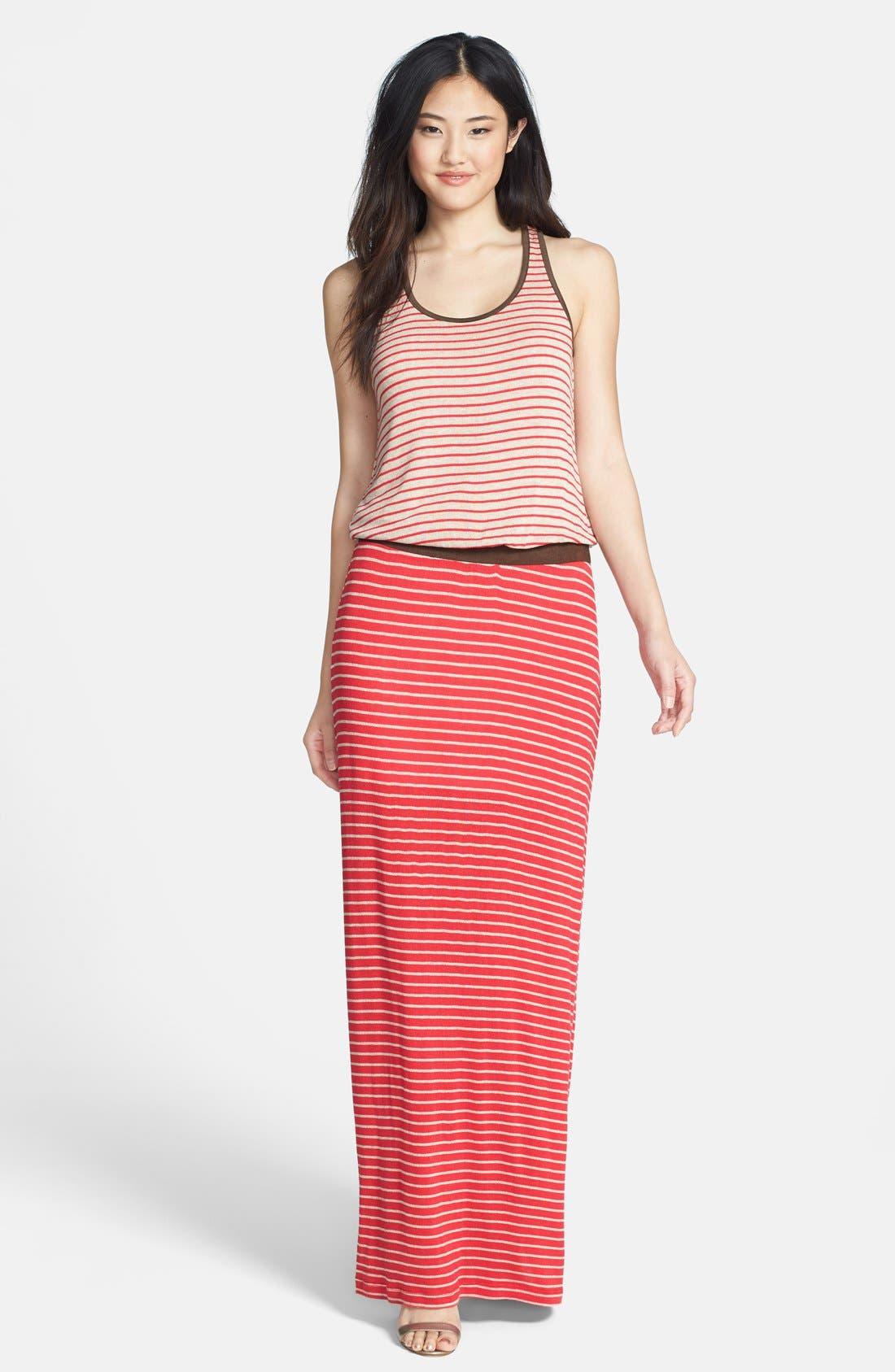 Main Image - Tart 'Maris' Faux Suede Trim Stripe Maxi Dress