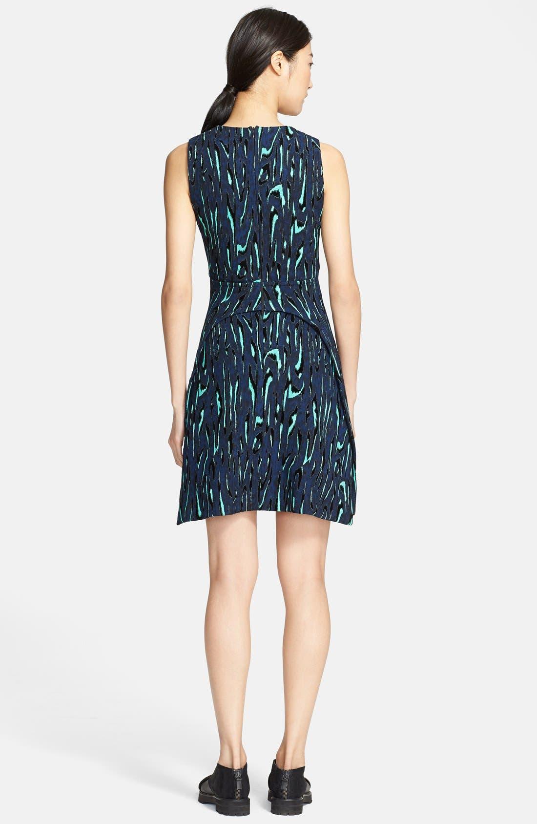 Alternate Image 2  - Proenza Schouler Moiré Print Fit & Flare Dress
