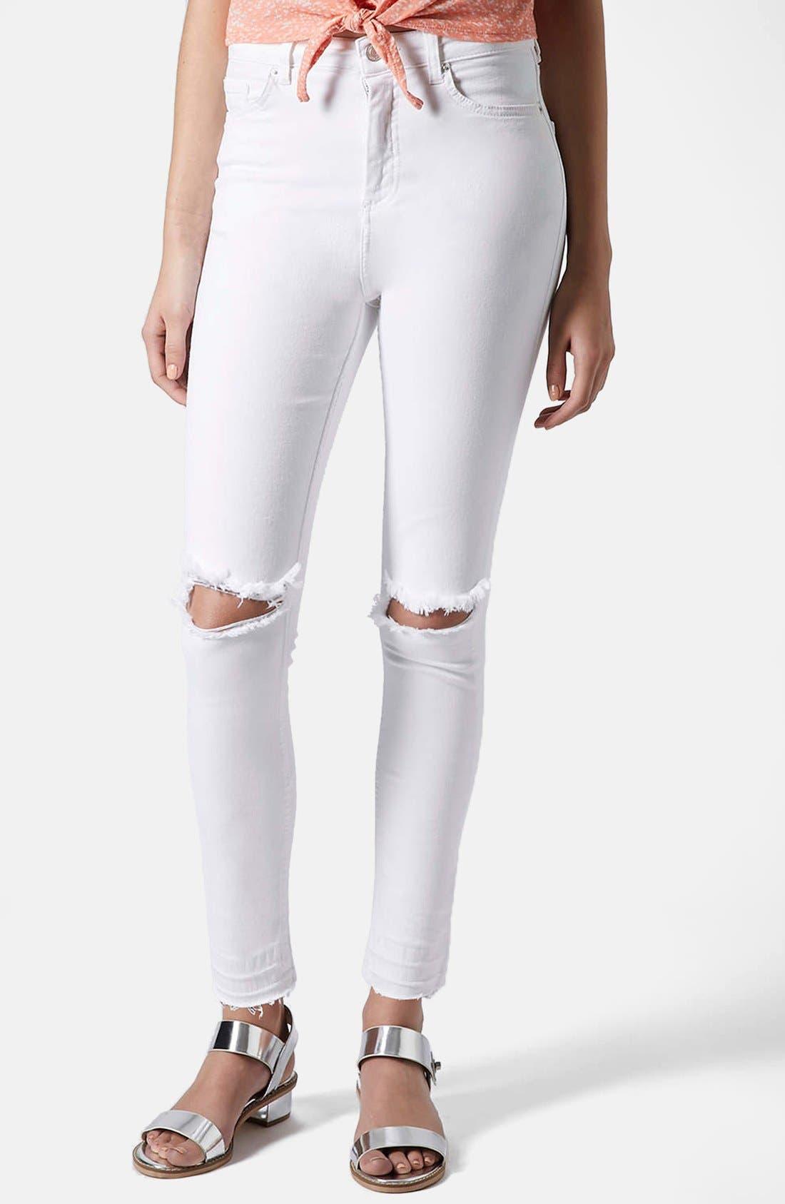 Main Image - Topshop Moto 'Jamie' Ripped High Rise Ankle Skinny Jeans (White) (Regular & Short)