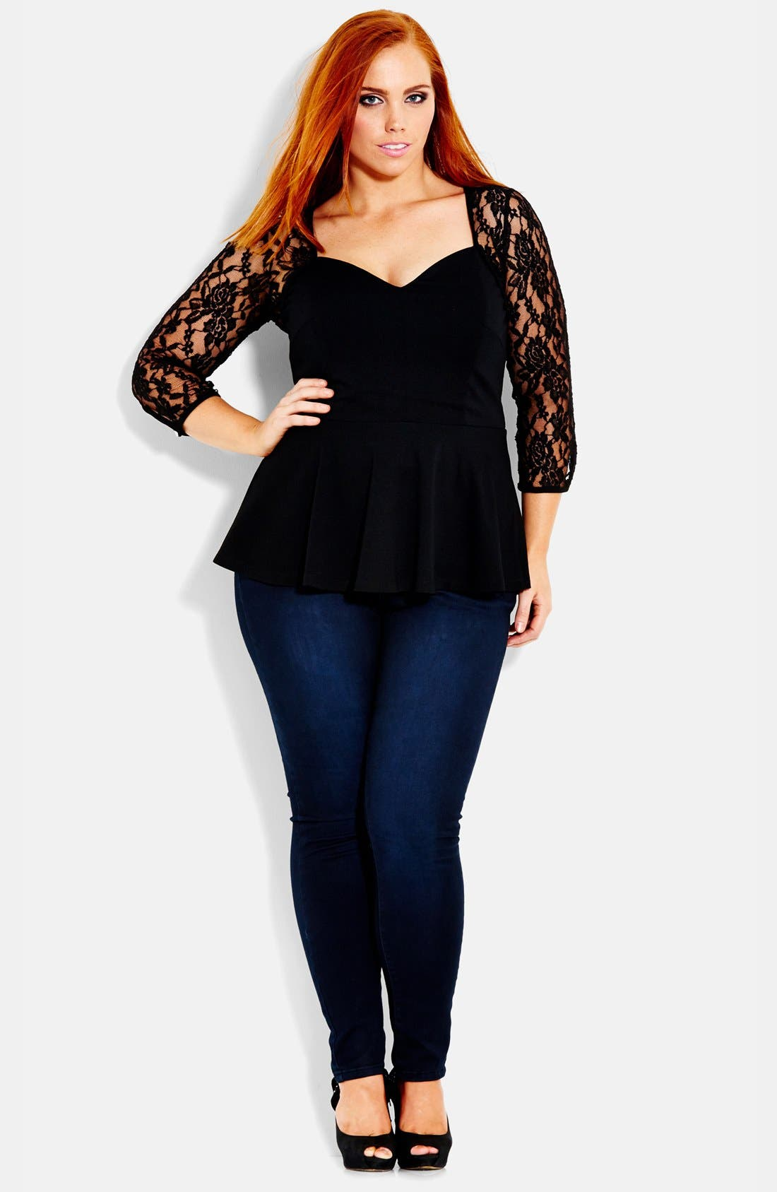 Alternate Image 1 Selected - City Chic Lace Bolero Corset Top (Plus Size)