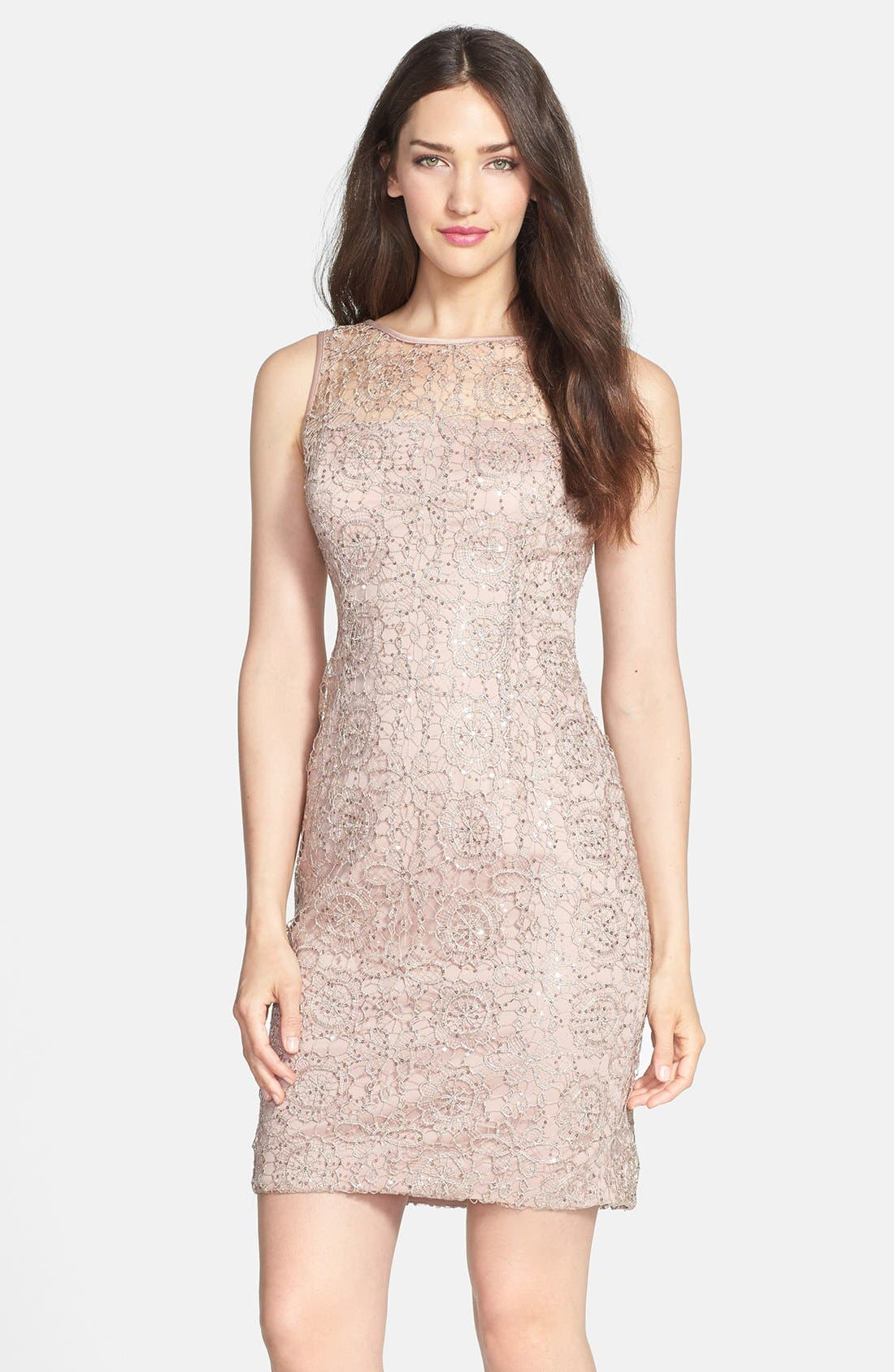 Alternate Image 1 Selected - Adrianna Papell Sleeveless Sequin Metallic Lace Dress