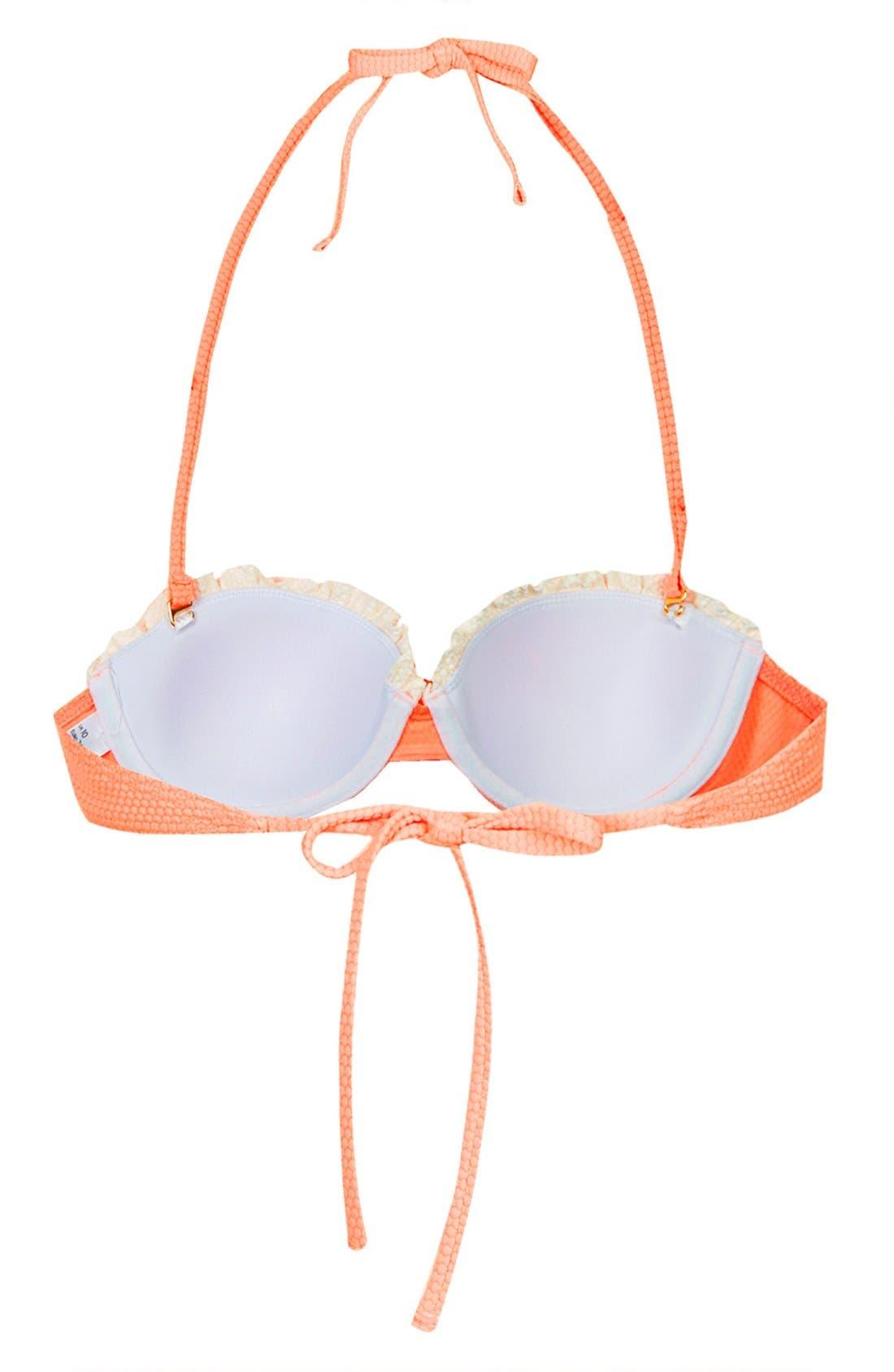 Alternate Image 2  - Topshop Ruffle Trim Push-Up Bikini Top