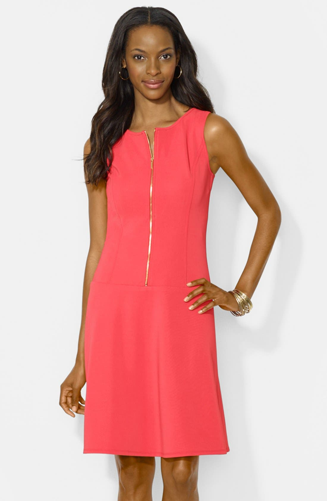Main Image - Lauren Ralph Lauren Front Zip Shift Dress (Petite)