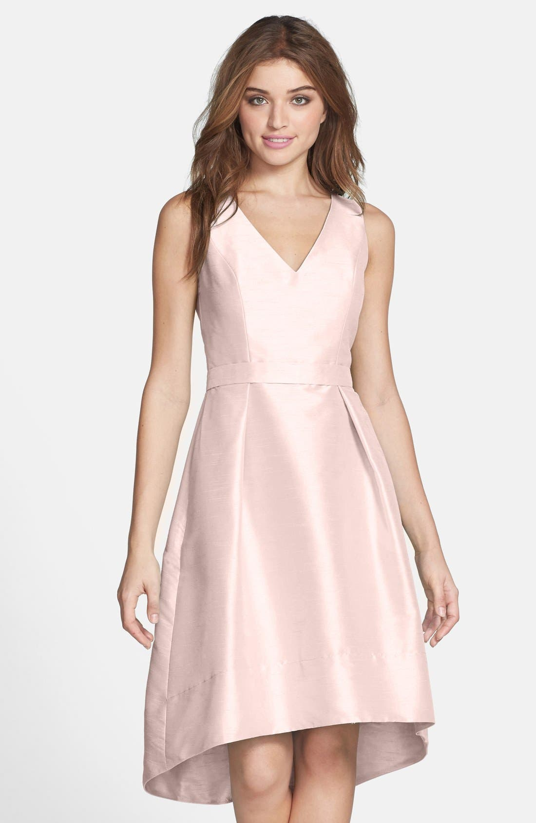 Main Image - Alfred Sung Satin High/Low Fit & Flare Dress (Online Only)