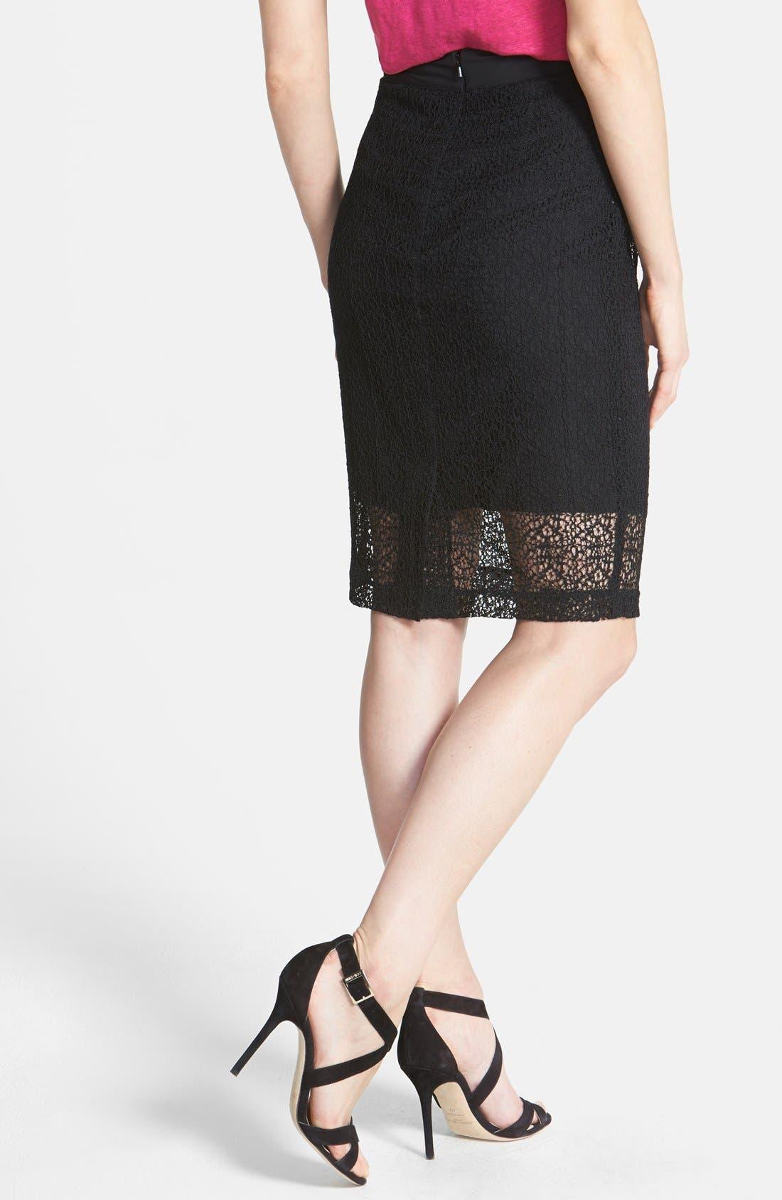 Alternate Image 2  - Halogen® 'Avalon' Lace Pencil Skirt (Petite)