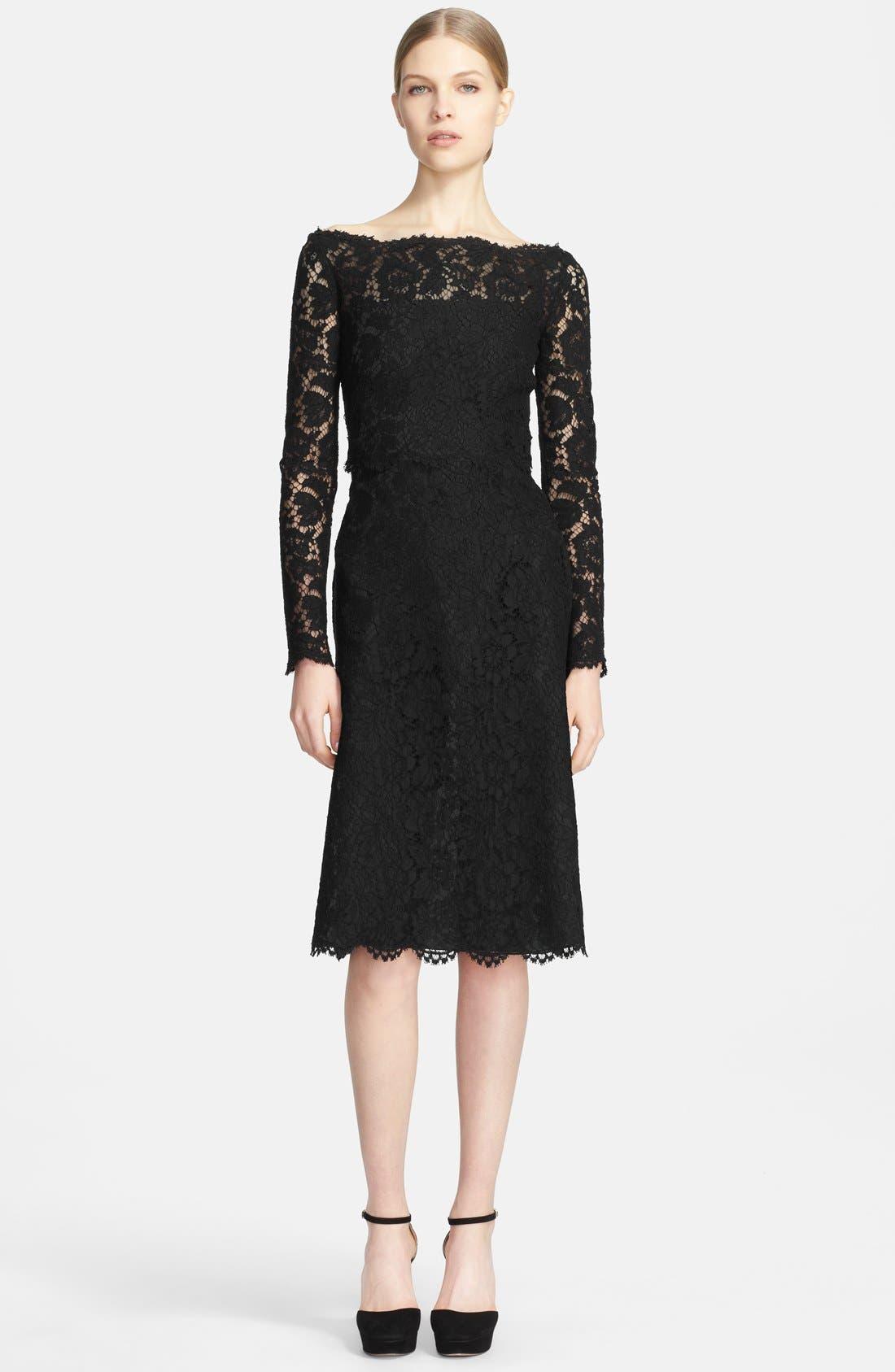 Main Image - Valentino Bateau Neck Lace Dress
