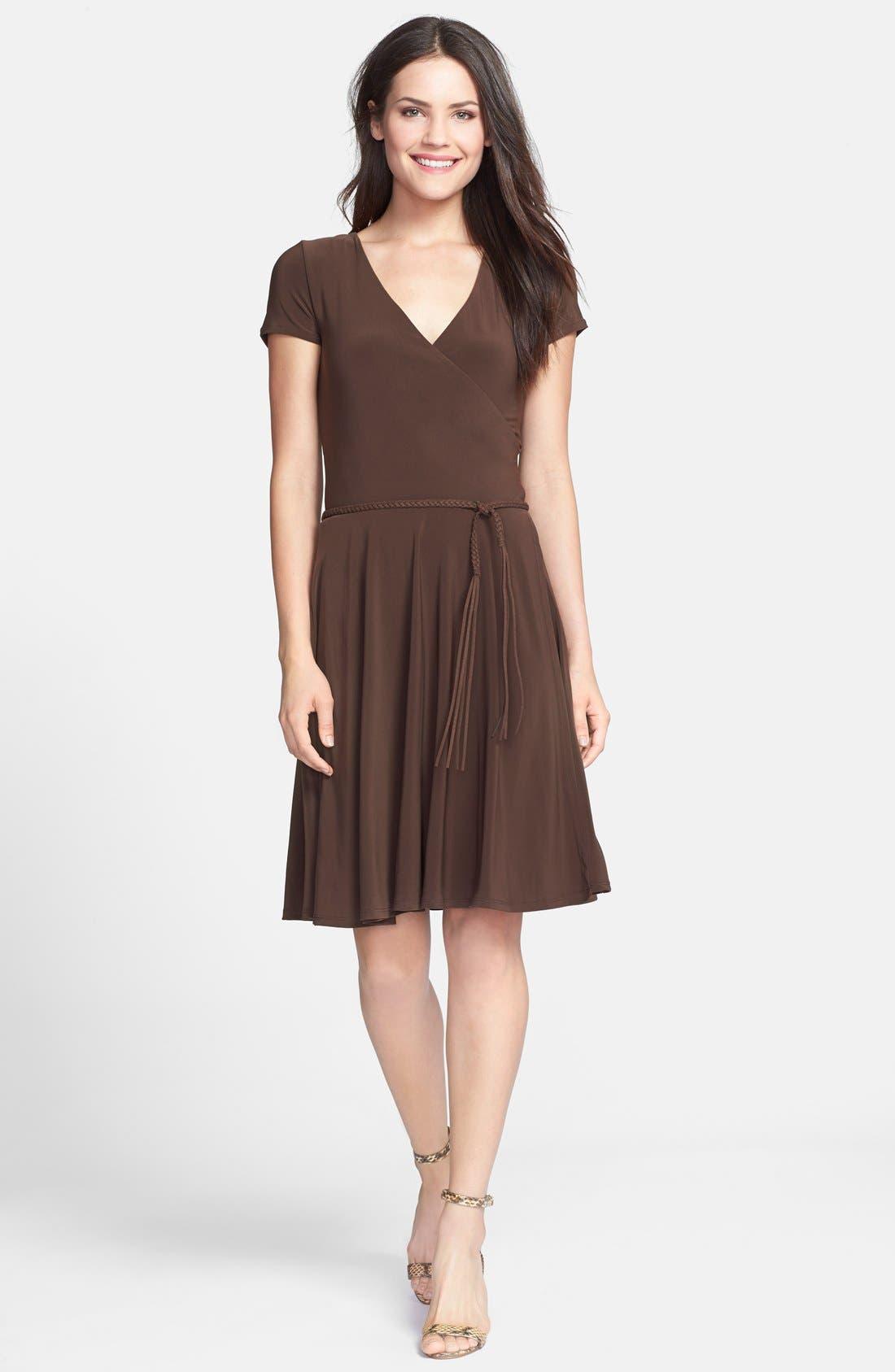 Main Image - Lauren Ralph Lauren Belted Fit & Flare Jersey Dress