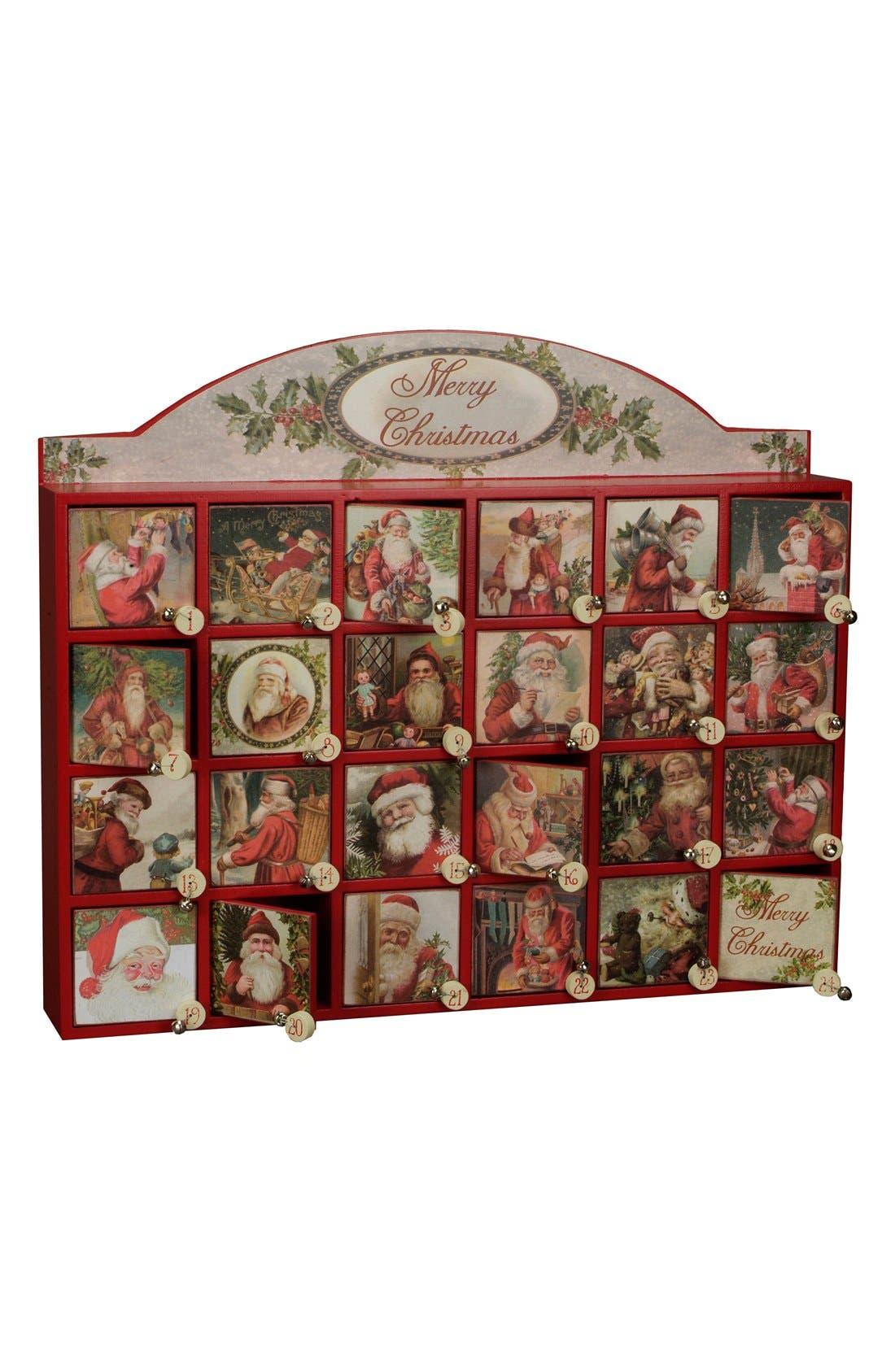 'Merry Santas' Advent Box Calendar,                         Main,                         color, Red Multi