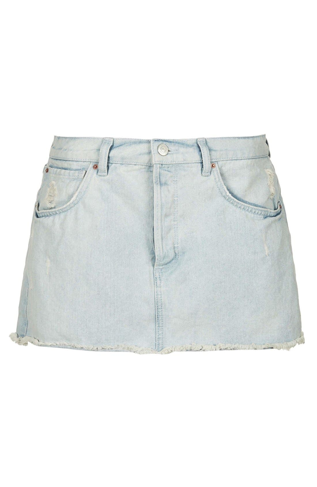 Alternate Image 3  - Topshop Moto Bleach Wash Cutoff Skirt (Light Denim)