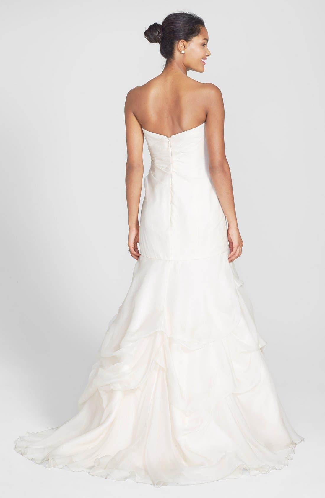 Alternate Image 2  - BLISS Monique Lhuillier Strapless Silk Organza Mermaid Wedding Dress