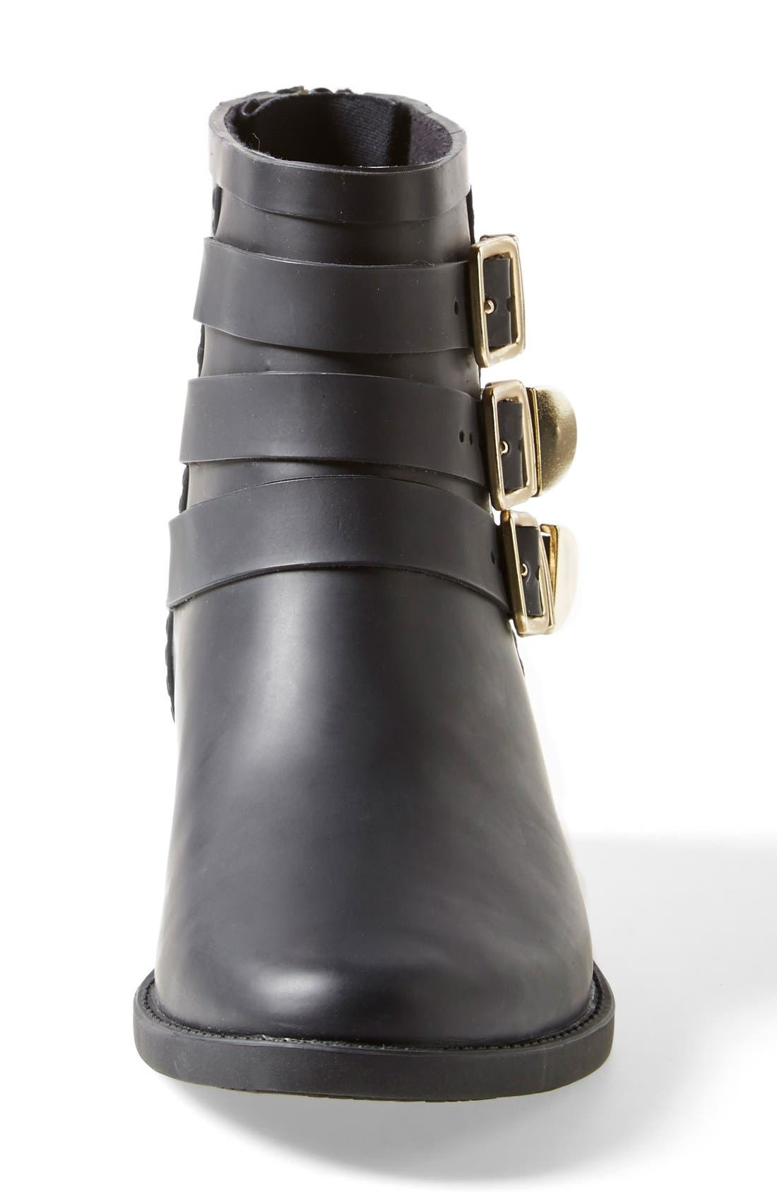 'Fenton' Rain Boot,                             Alternate thumbnail 3, color,                             Black/ Gold