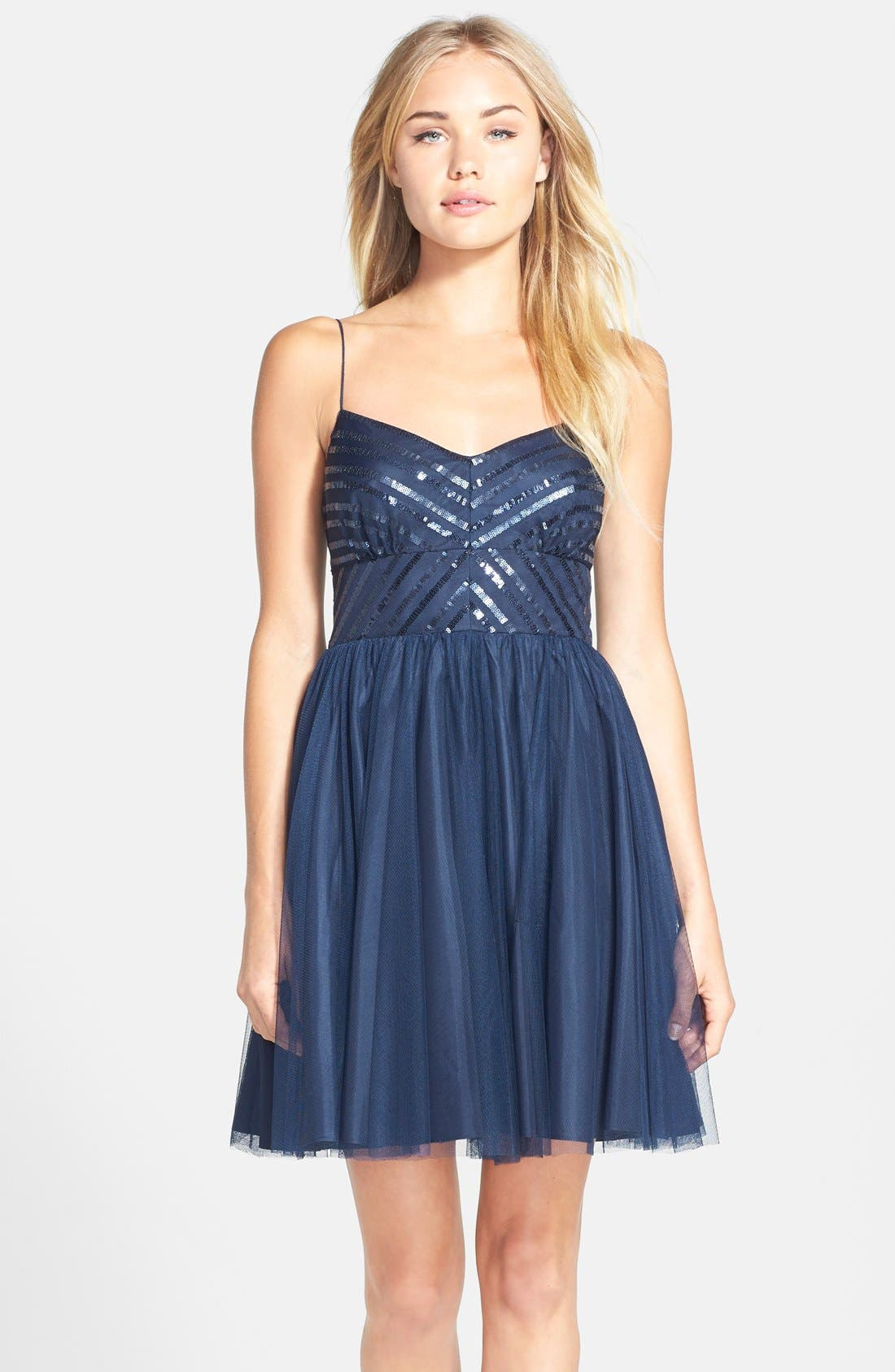 Main Image - Aidan by Aidan Mattox Spaghetti Strap Sequin & Tulle Dress (Online Only)