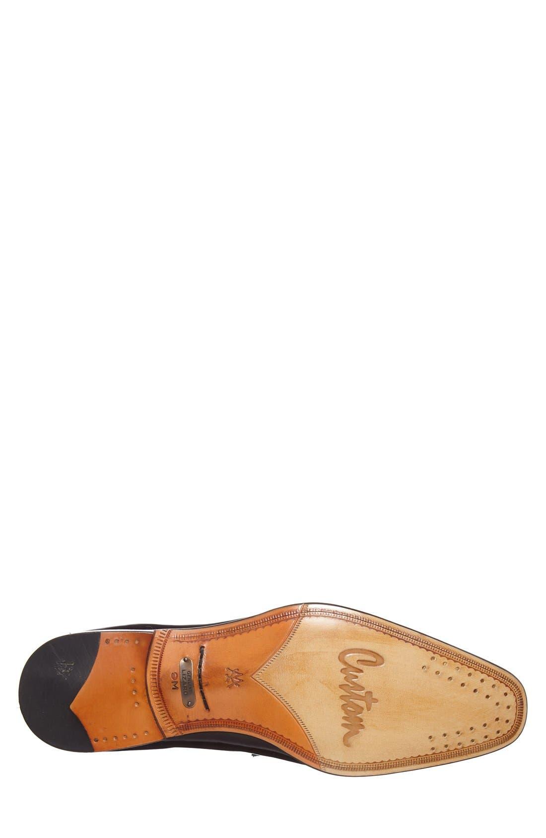 'Obrador' Lizard Leather Tassel Loafer,                             Alternate thumbnail 4, color,                             Black