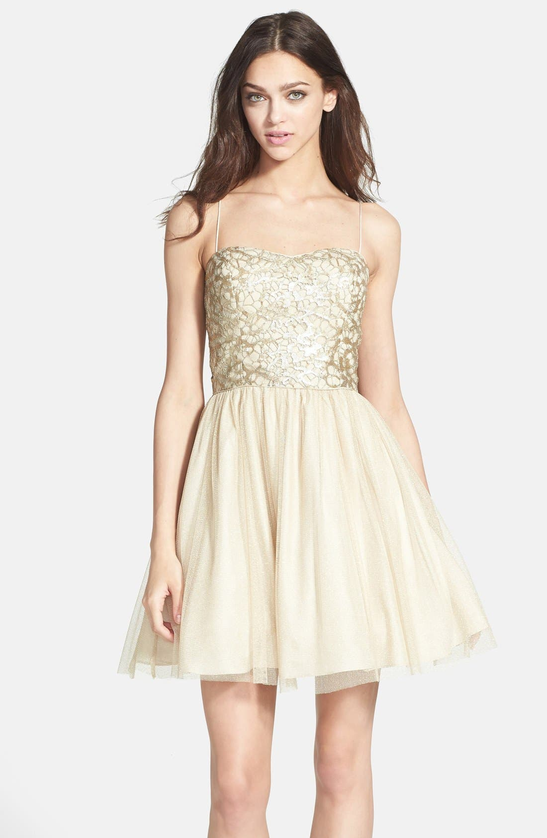 Alternate Image 1 Selected - Aidan Mattox Embellished Tulle Fit & Flare Dress