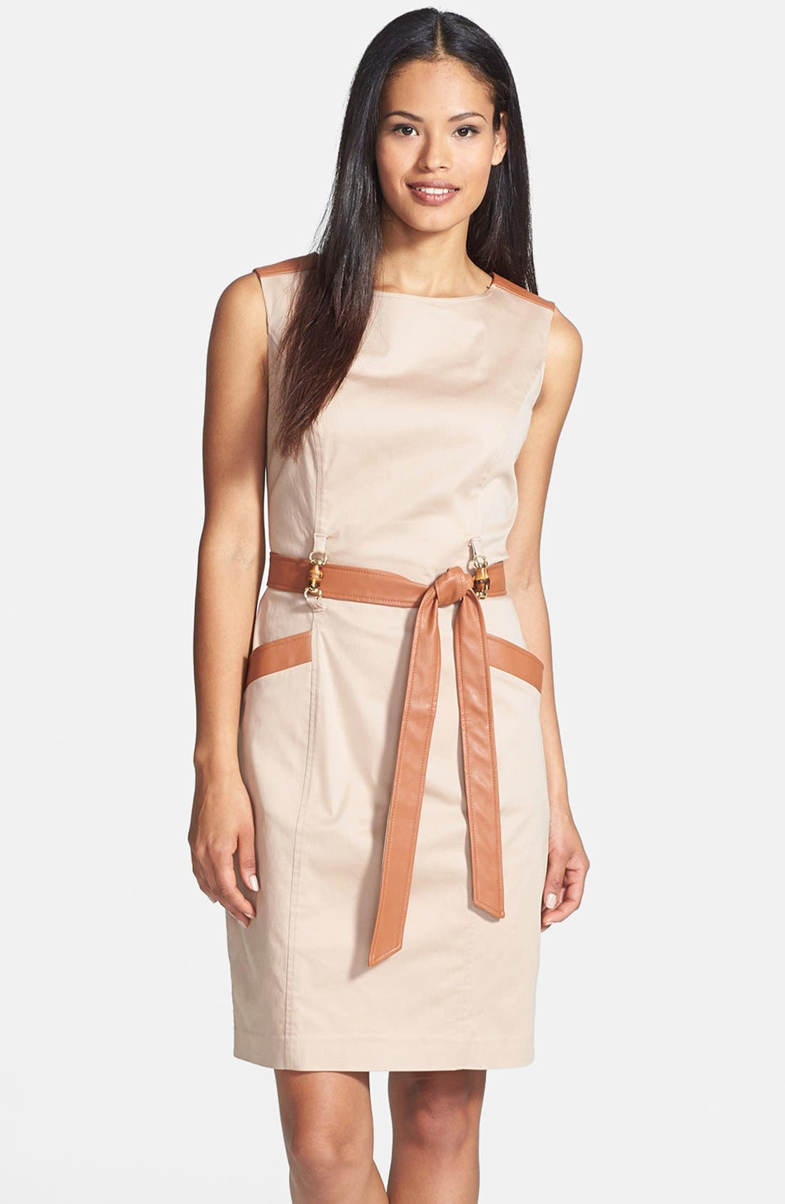 Alternate Image 1 Selected - Ellen Tracy Faux Leather Trim Sleeveless Sheath Dress