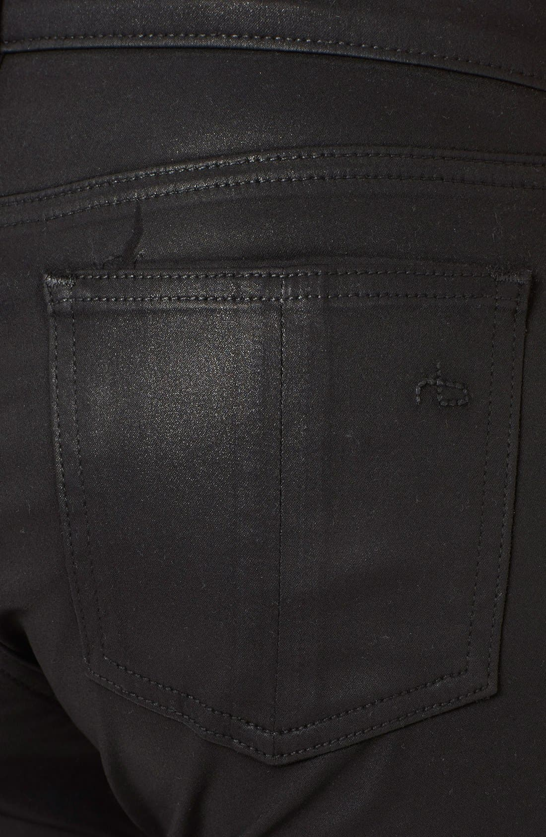 Alternate Image 3  - rag & bone/JEAN Coated Ankle Zip Skinny Jeans (Coated Black)