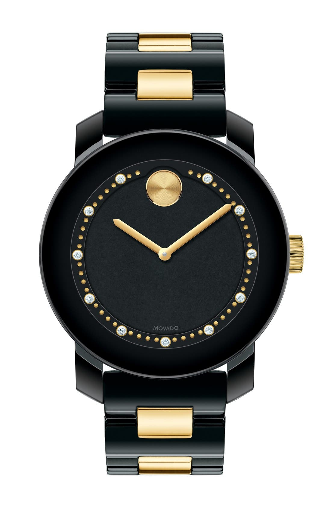 Main Image - Movado 'Bold' Diamond Index Ceramic Bracelet Watch, 36mm