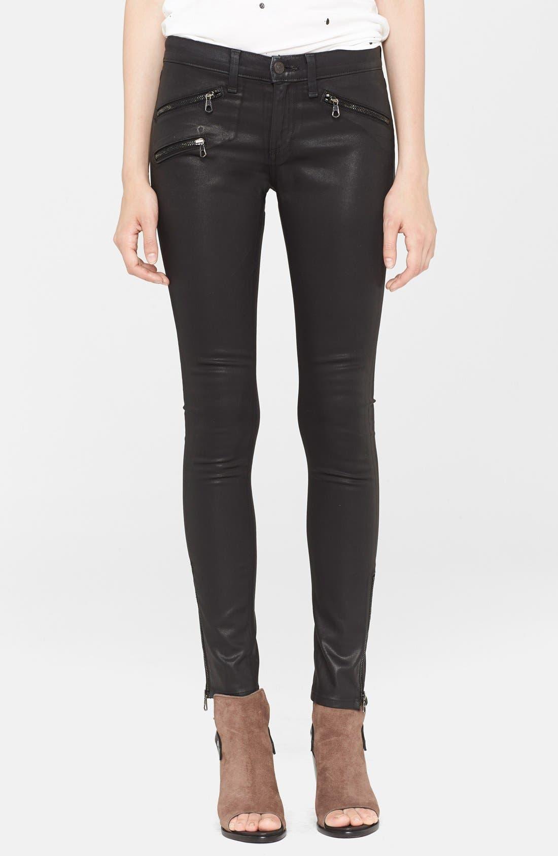 Main Image - rag & bone/JEAN Coated Ankle Zip Skinny Jeans (Coated Black)