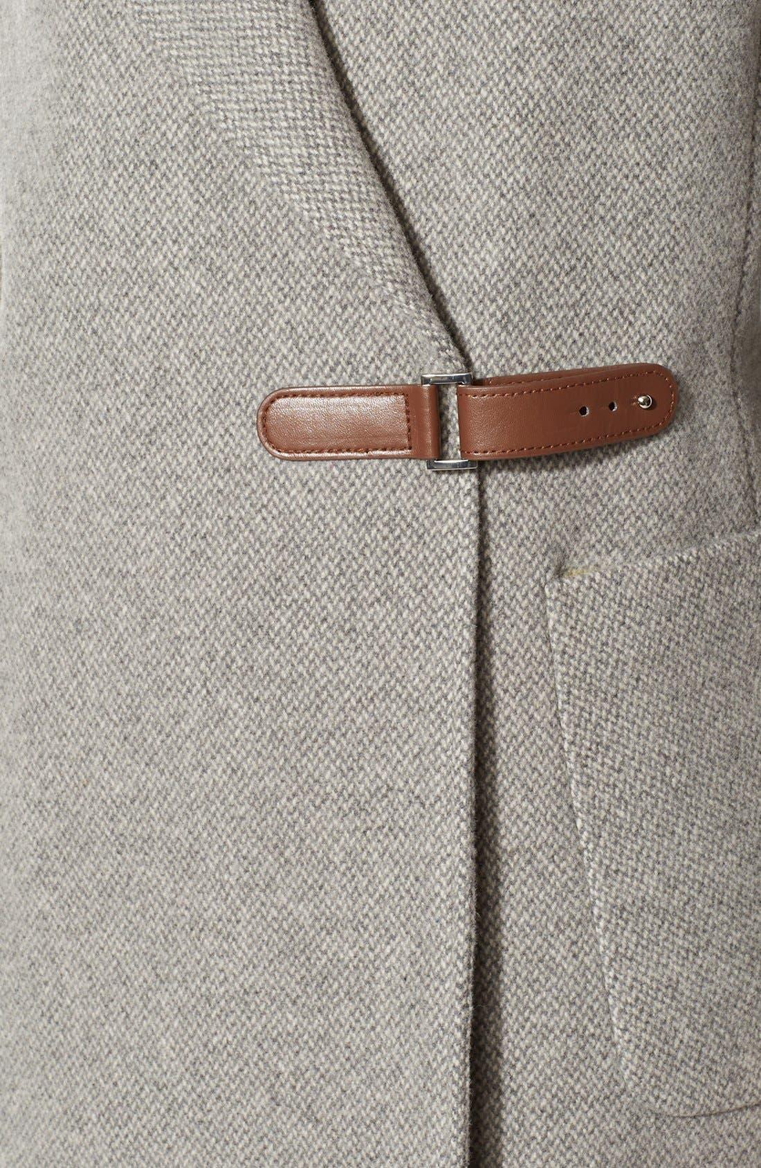 Alternate Image 3  - Lauren Ralph Lauren Hooded Drape Front Herringbone Coat