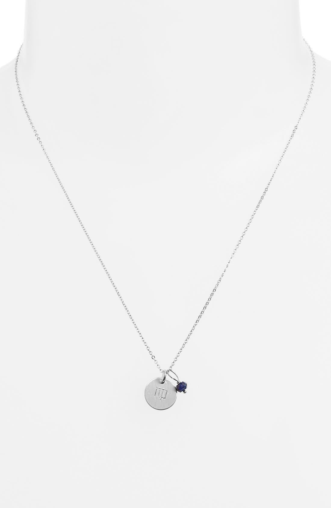 Semiprecious Birthstone Sterling Silver Zodiac Mini Disc Necklace,                             Alternate thumbnail 2, color,                             Virgo