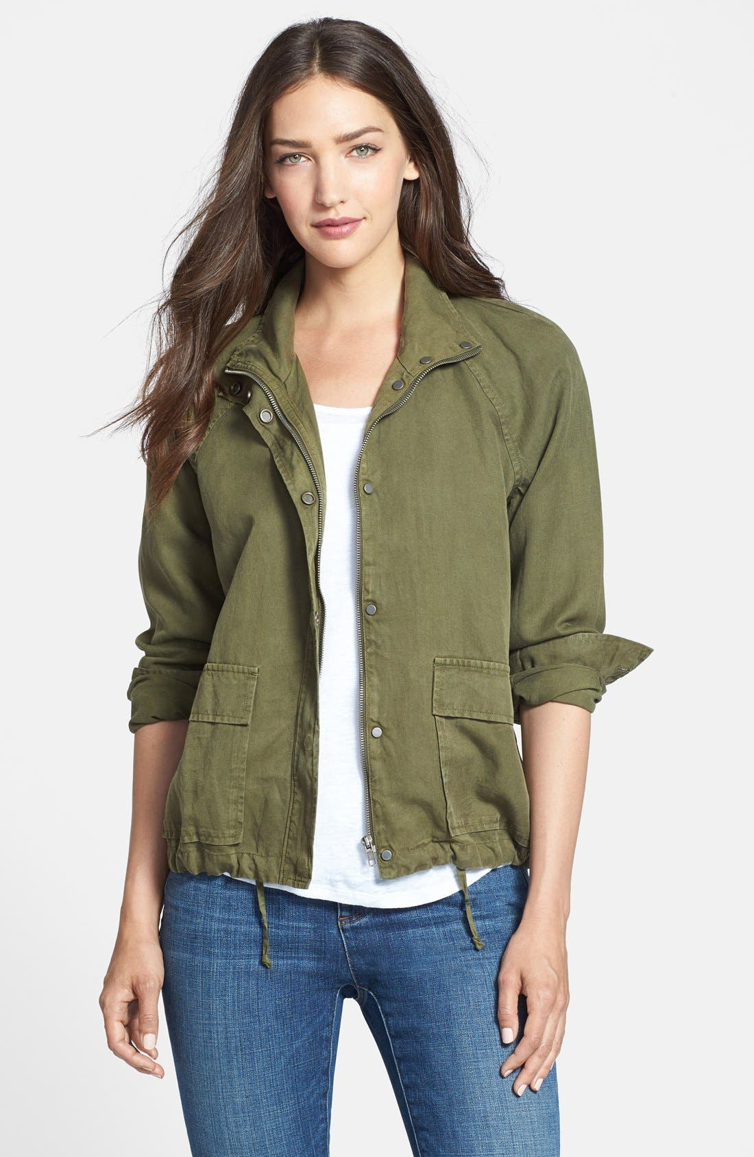 Tencel<sup>®</sup> & Linen Bomber Jacket,                         Main,                         color, Olive