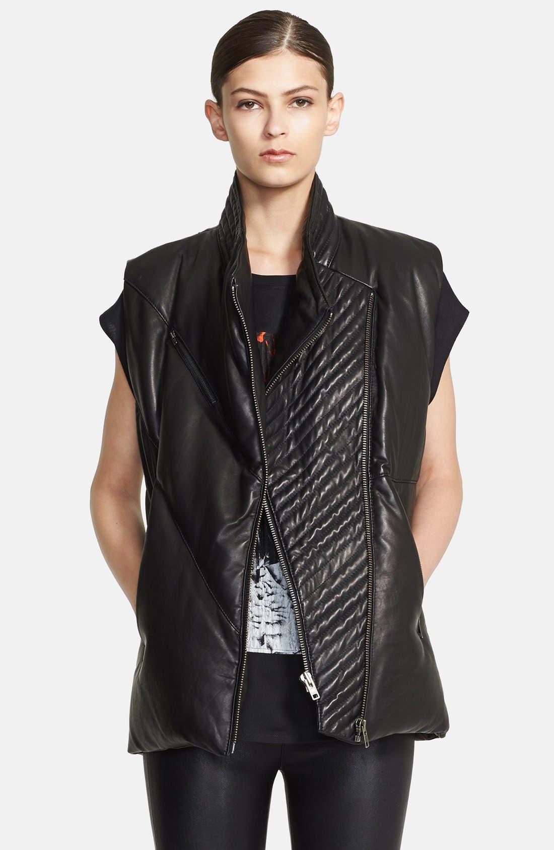 Alternate Image 1 Selected - Helmut Lang 'Petal' Leather Puffer Vest