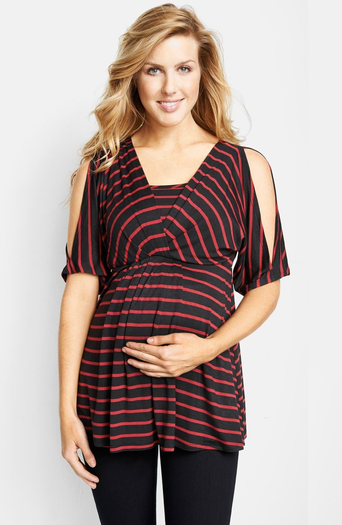 Split Sleeve Maternity/Nursing Top,                             Main thumbnail 1, color,                             Wine Stripes