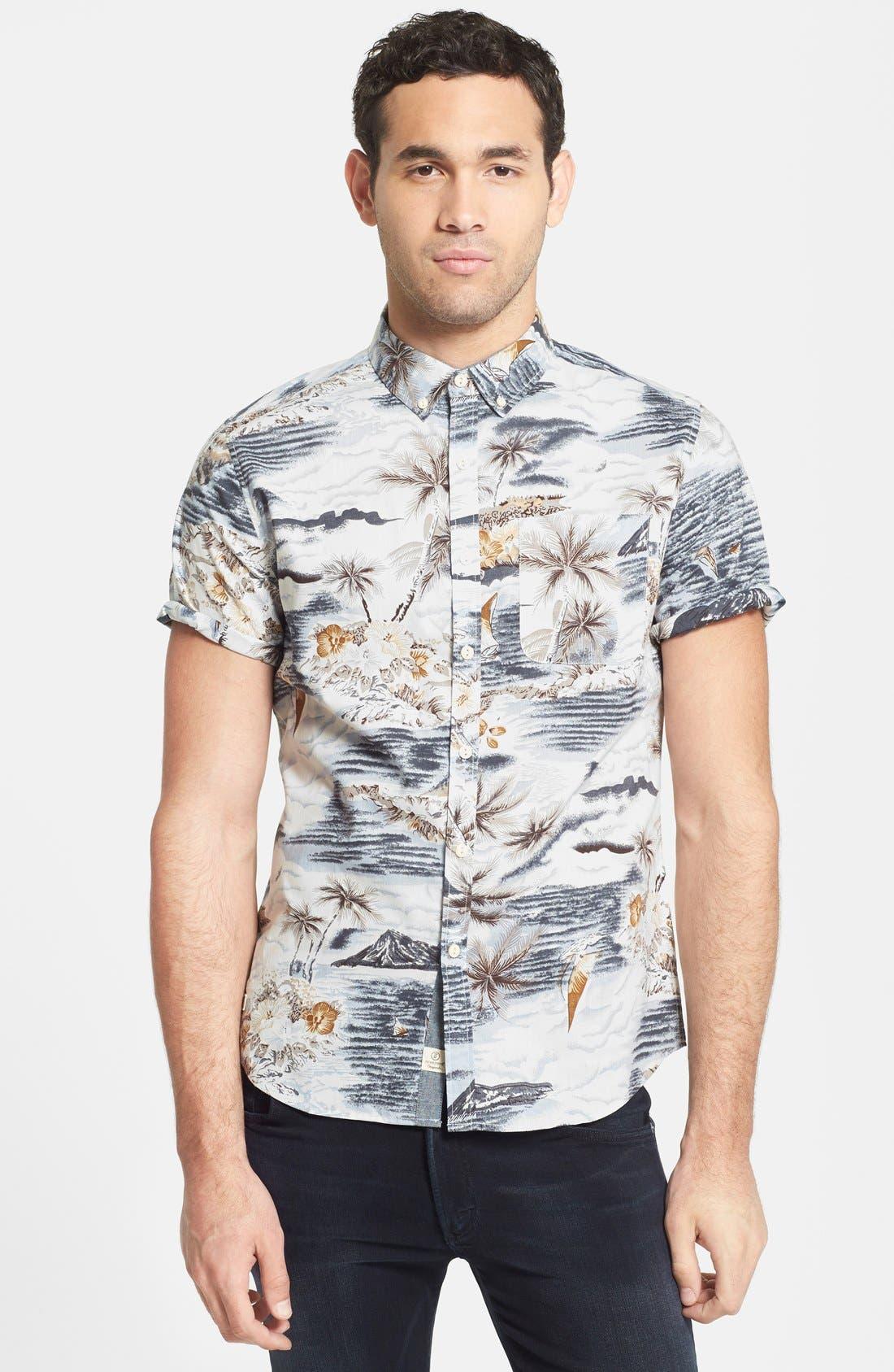 Alternate Image 1 Selected - 7 Diamonds 'Legend' Trim Fit Short Sleeve Print Woven Shirt