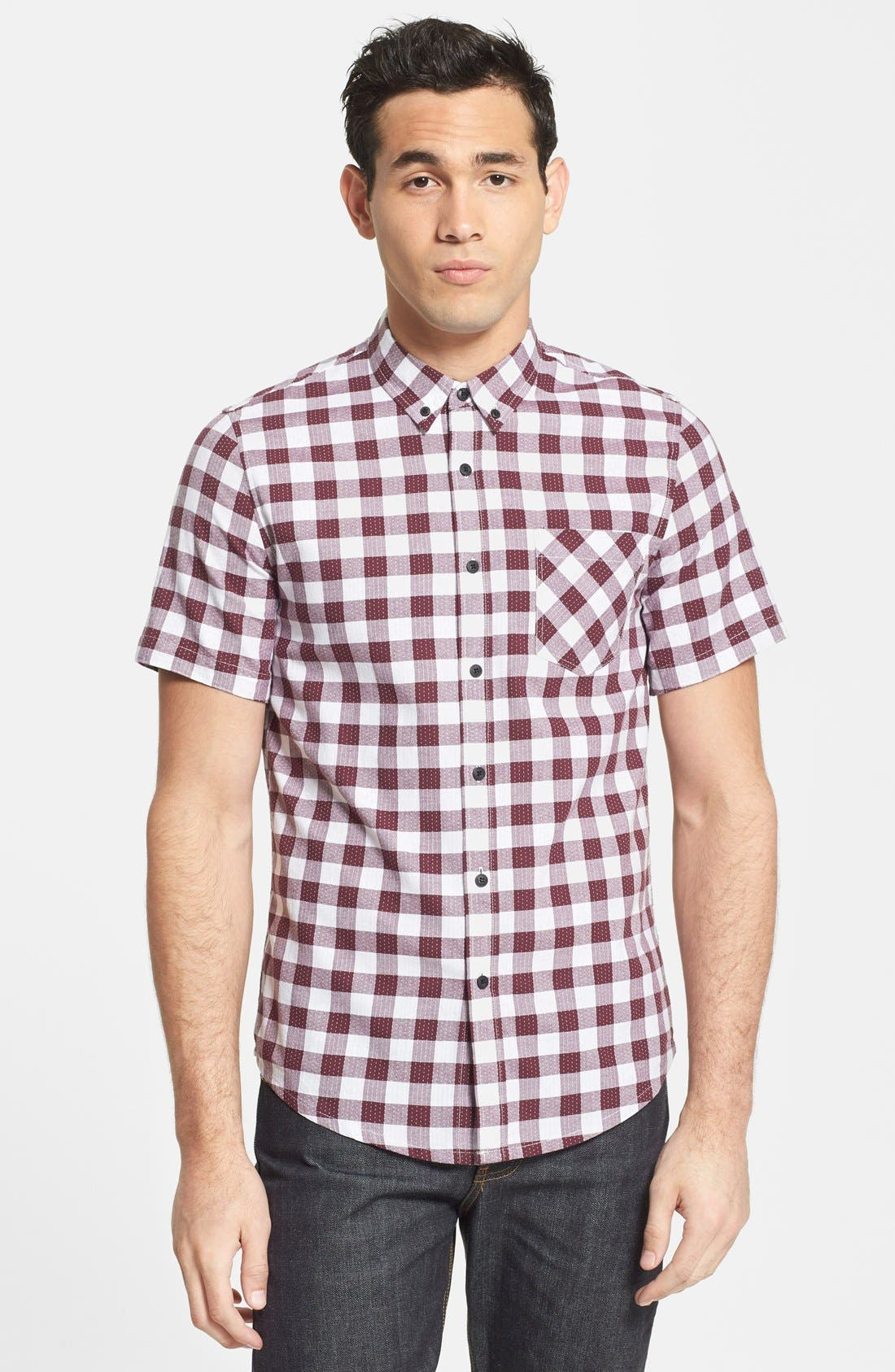 Alternate Image 1 Selected - Topman Classic Fit Short Sleeve Check Shirt