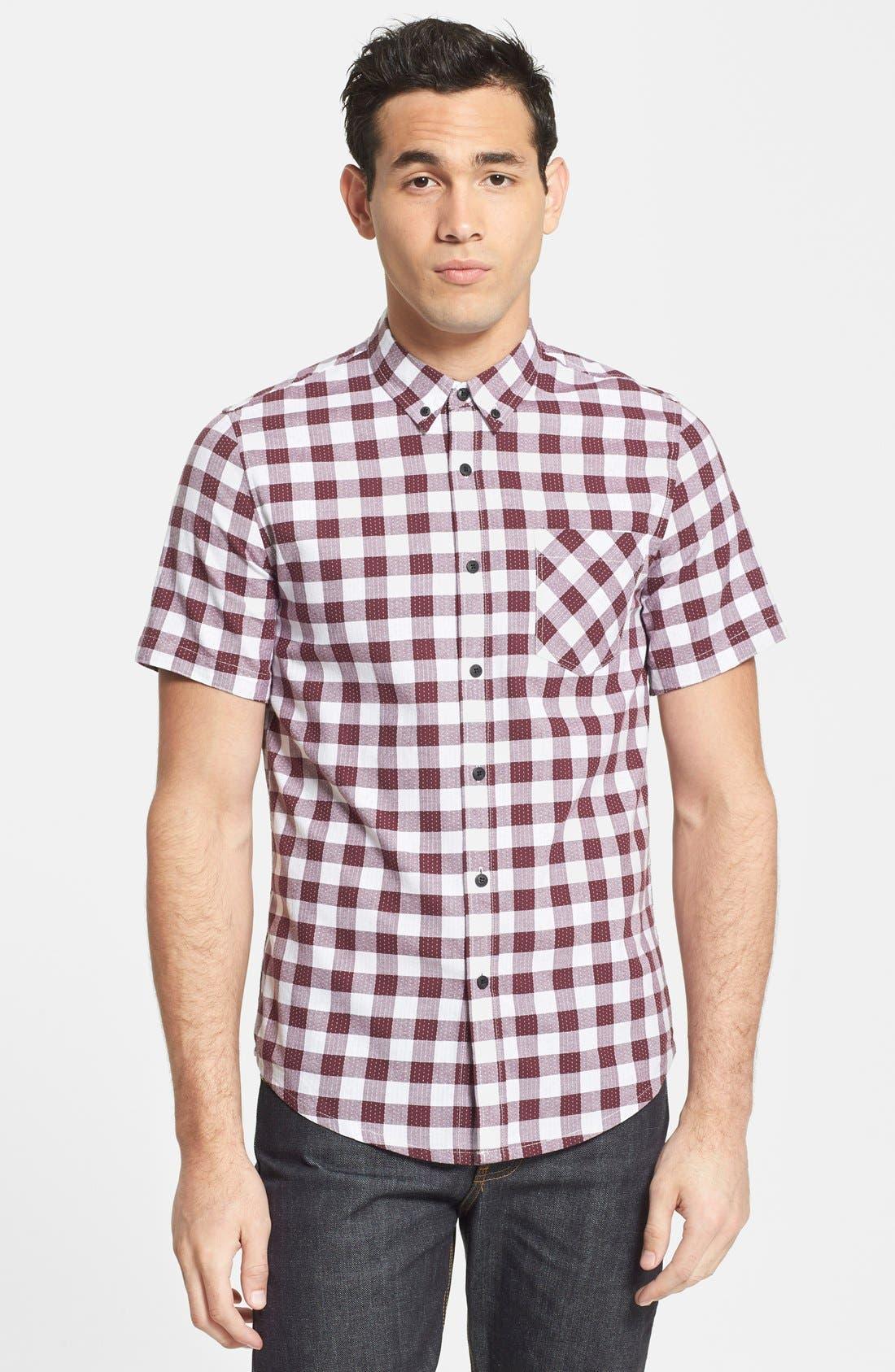 Main Image - Topman Classic Fit Short Sleeve Check Shirt