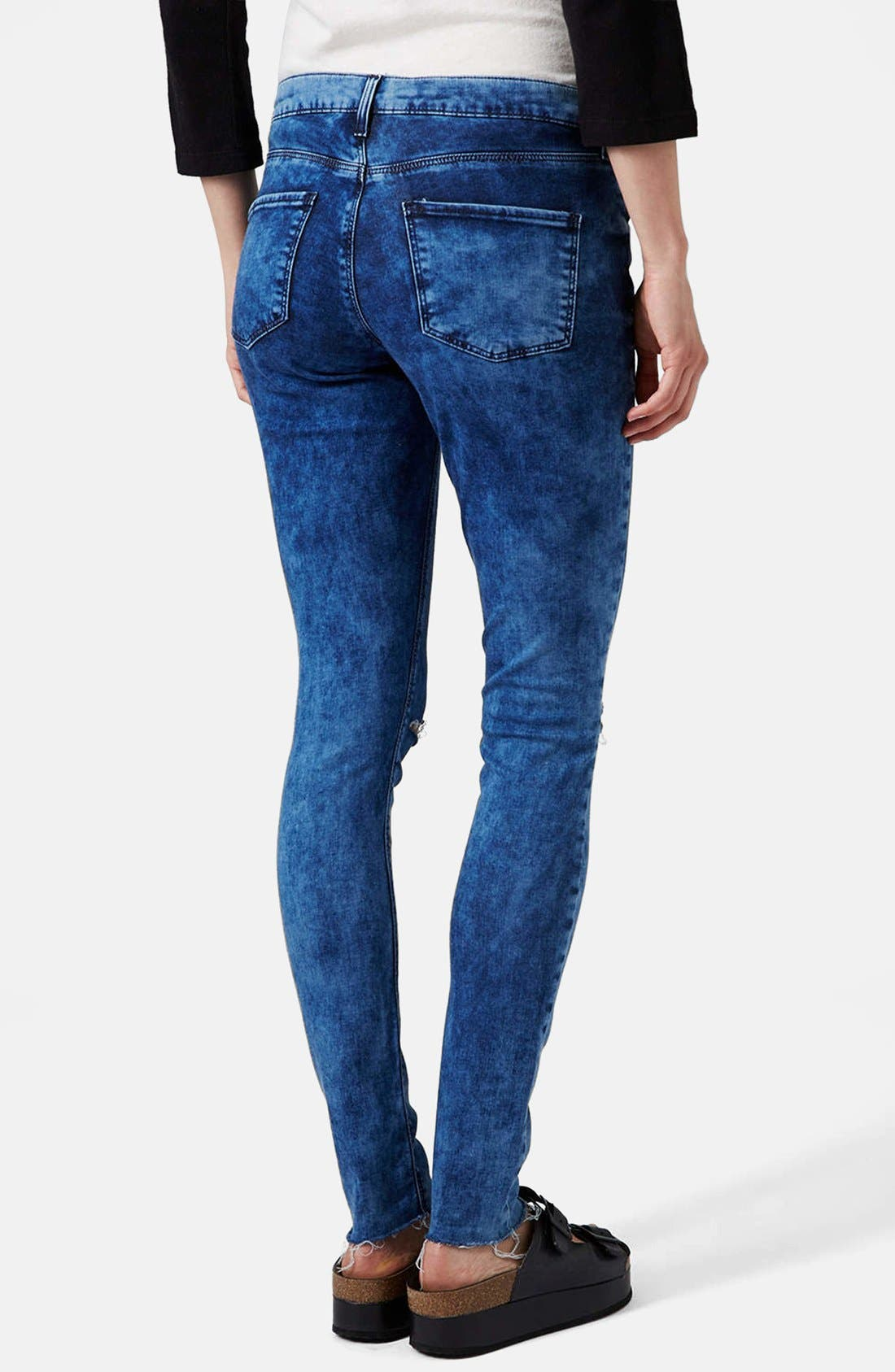 Alternate Image 2  - Topshop Moto 'Leigh' Ankle Skinny Jeans (Navy Blue)