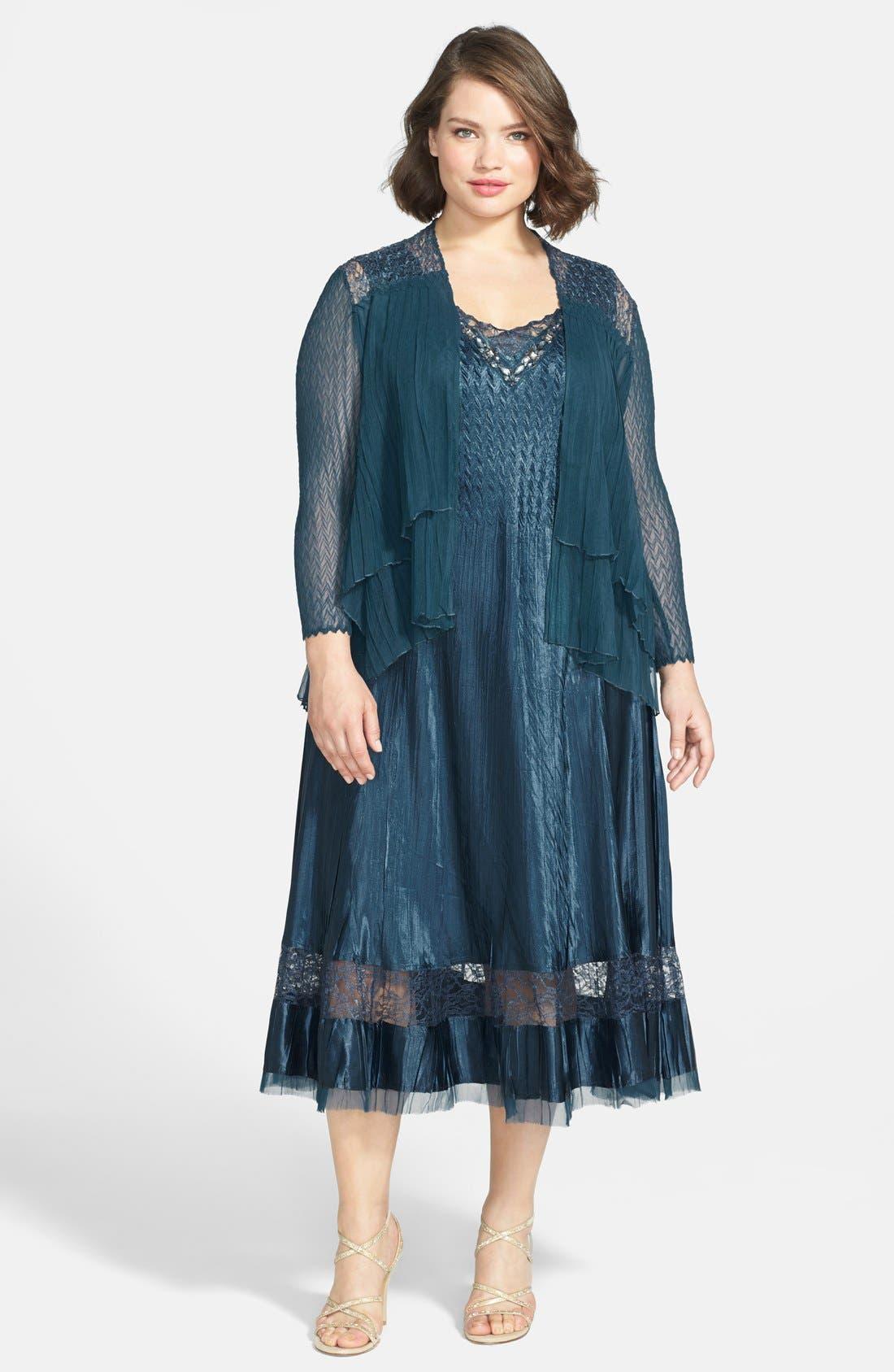 Main Image - Komarov Embellished Charmeuse Dress & Chiffon Jacket (Plus Size)