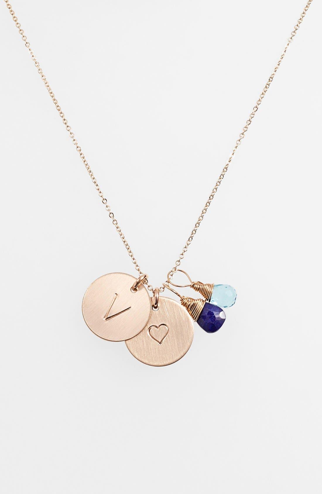Main Image - Nashelle Blue Quartz Initial & Heart 14k-Gold Fill Disc Necklace