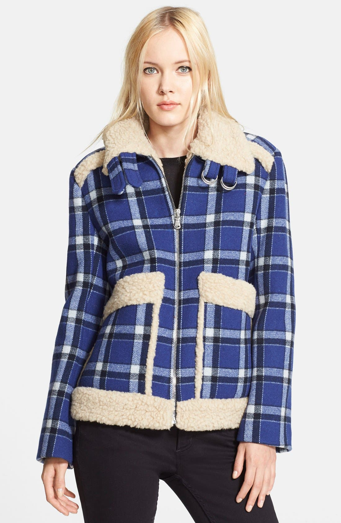 Main Image - MARC BY MARC JACOBS Faux Fur Trim Check Wool Jacket