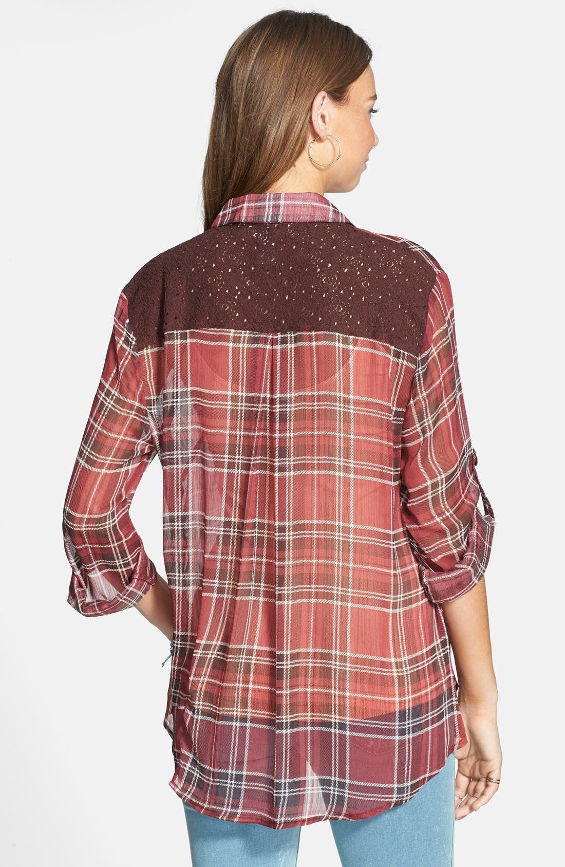 Alternate Image 2  - Band of Gypsies Plaid Crochet Back Yoke Chiffon Shirt (Juniors)