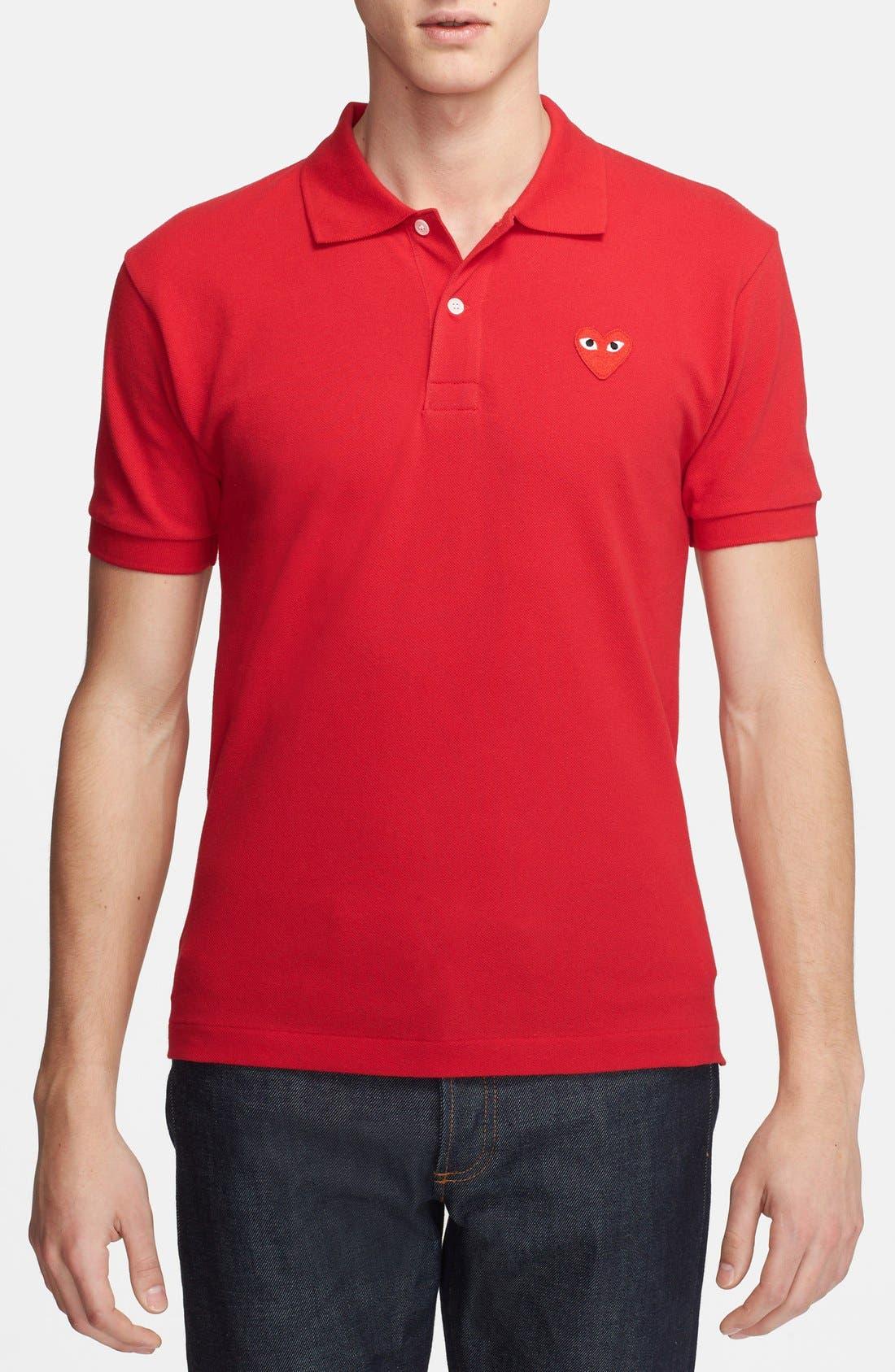 Comme des Garçons PLAY Piqué Polo with Heart Appliqué,                         Main,                         color, Red