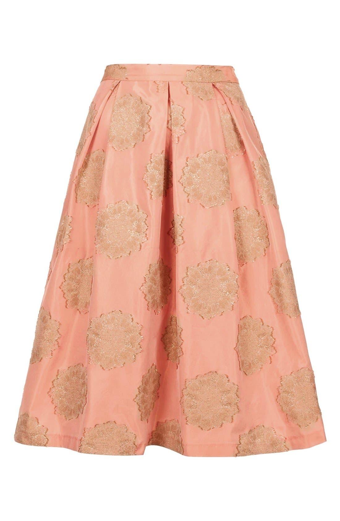 Alternate Image 4  - Topshop Metallic Lace Jacquard Midi Skirt