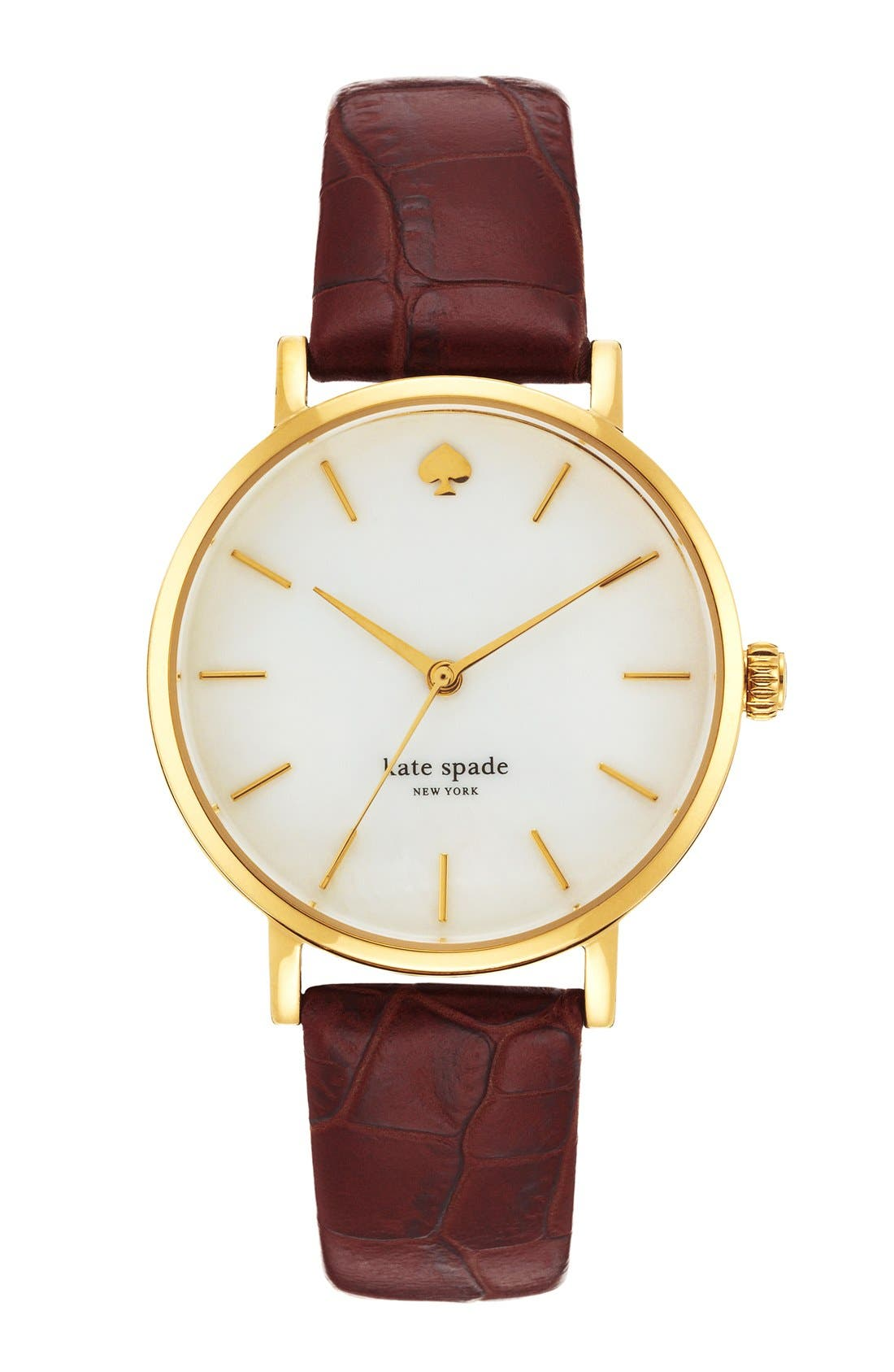 Alternate Image 1 Selected - kate spade new york 'metro' embossed leather strap watch, 34mm