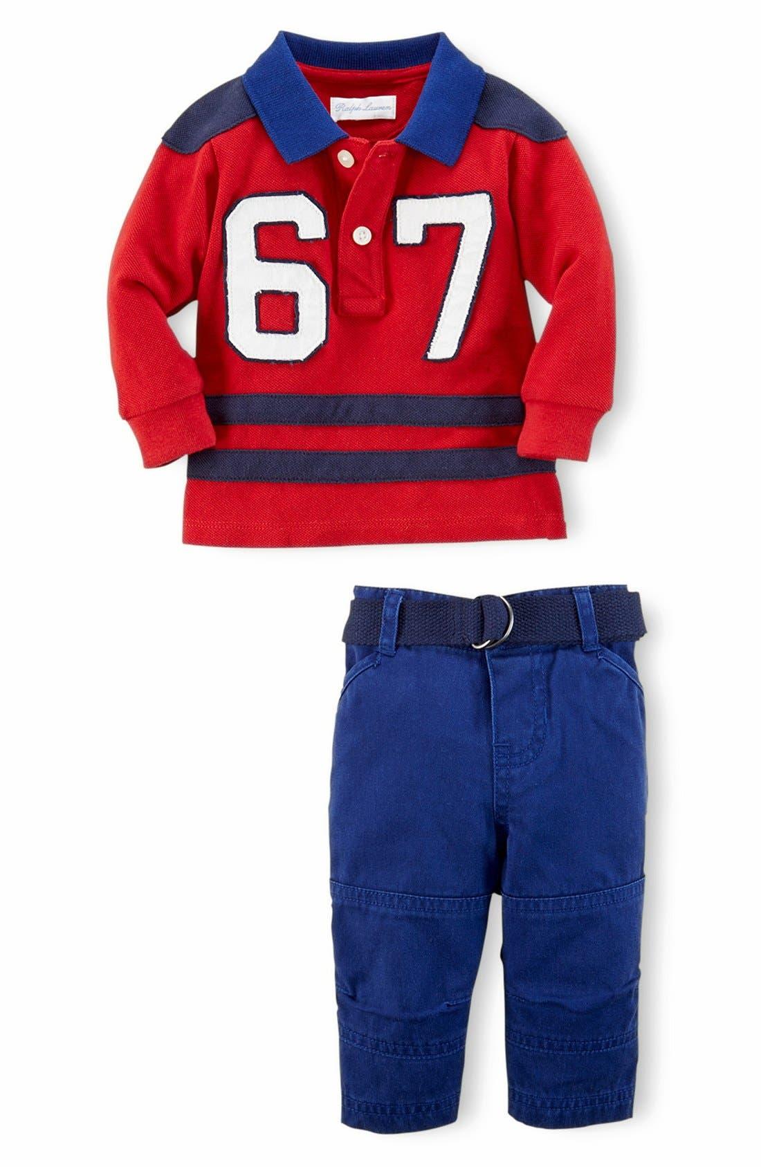 Main Image - Ralph Lauren Stripe Cotton Mesh Polo & Pants (Baby Boys)