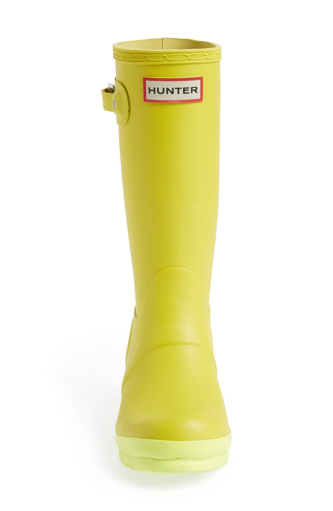 'Original Contrast Sole' Waterproof Rain Boot,                             Alternate thumbnail 3, color,                             Yellow Chartreuse