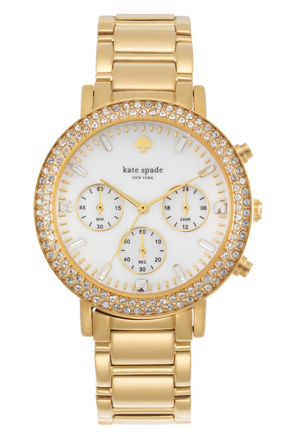 Alternate Image 1 Selected - kate spade new york 'gramercy grand' crystal bezel multifunction bracelet watch, 38mm