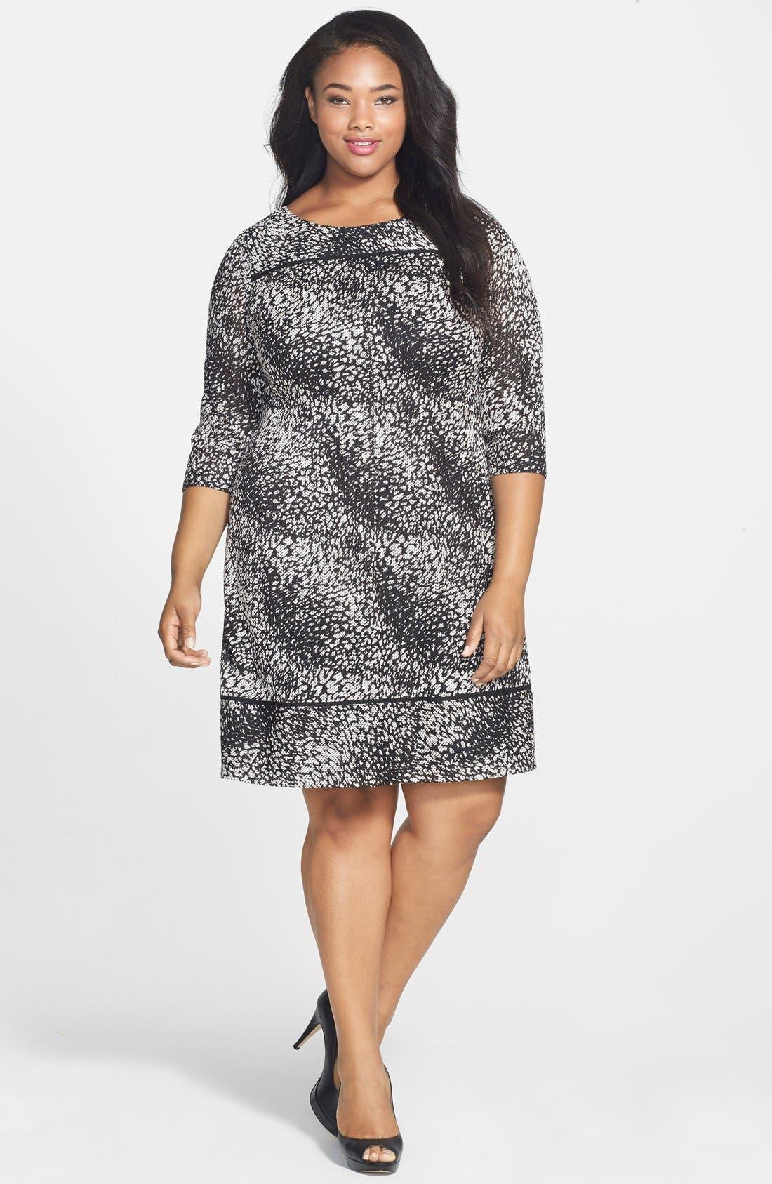 Print Knit Shift Dress,                         Main,                         color, Black/ Ivory