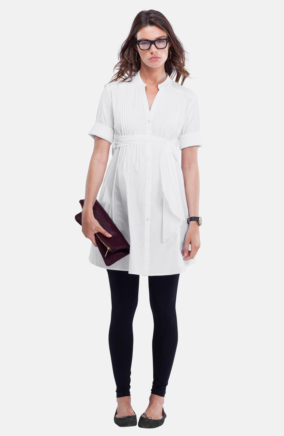 'Libby' Pleated Maternity Tunic,                             Alternate thumbnail 5, color,                             Pure White